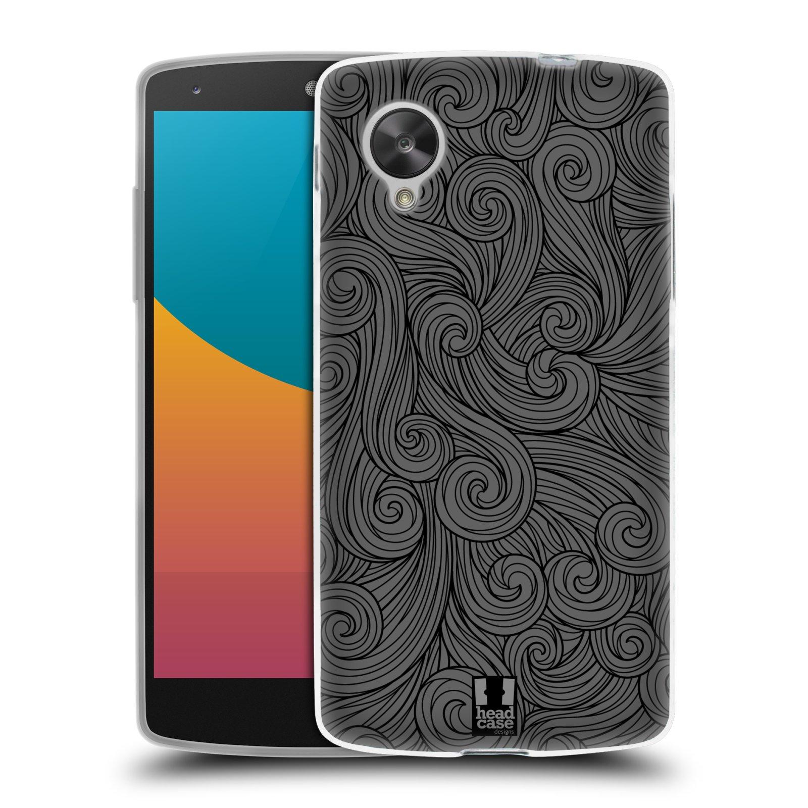 Silikonové pouzdro na mobil LG Nexus 5 HEAD CASE Dark Grey Swirls (Silikonový kryt či obal na mobilní telefon LG Google Nexus 5 D821)