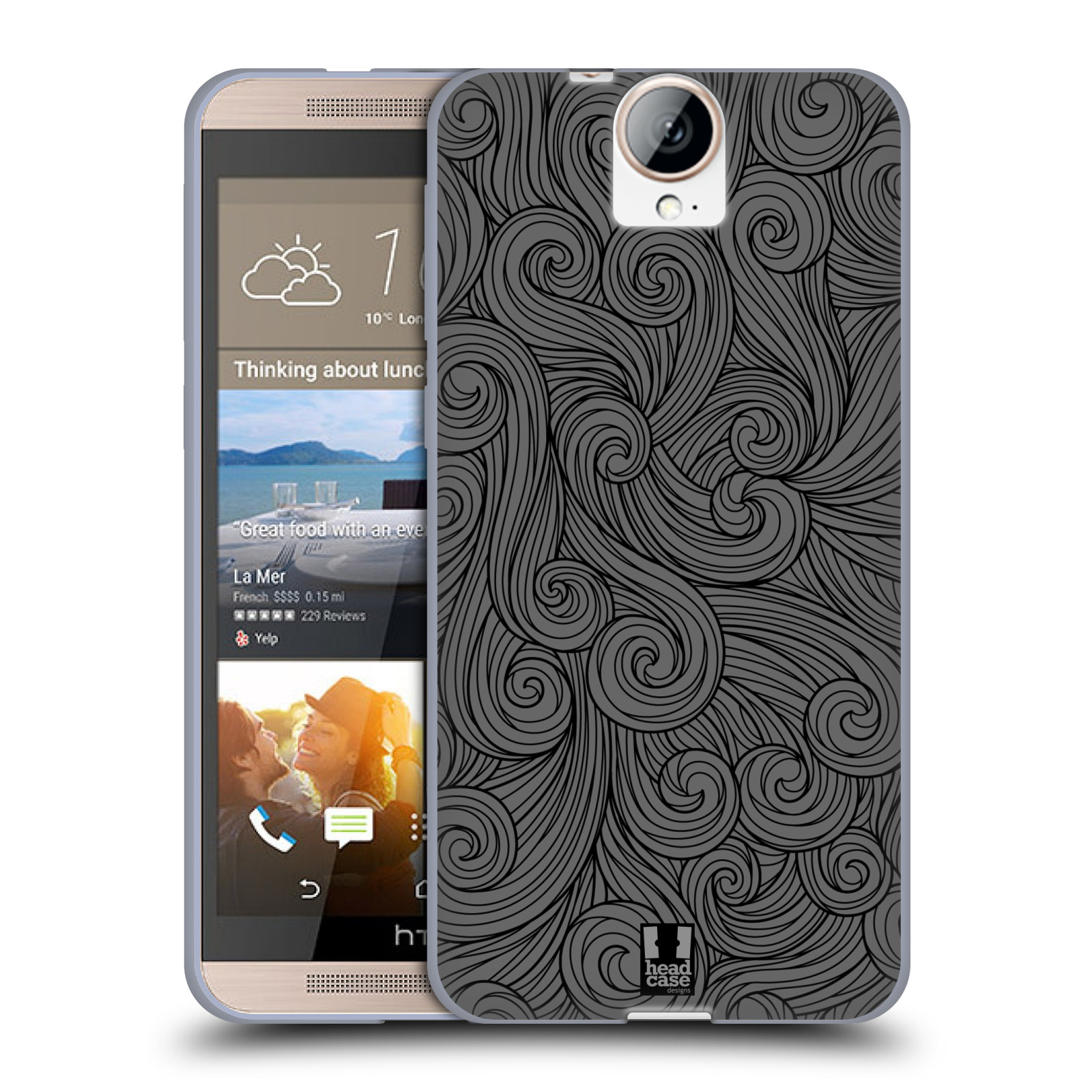 Silikonové pouzdro na mobil HTC One E9+(Plus) HEAD CASE Dark Grey Swirls (Silikonový kryt či obal na mobilní telefon HTC One E9+)