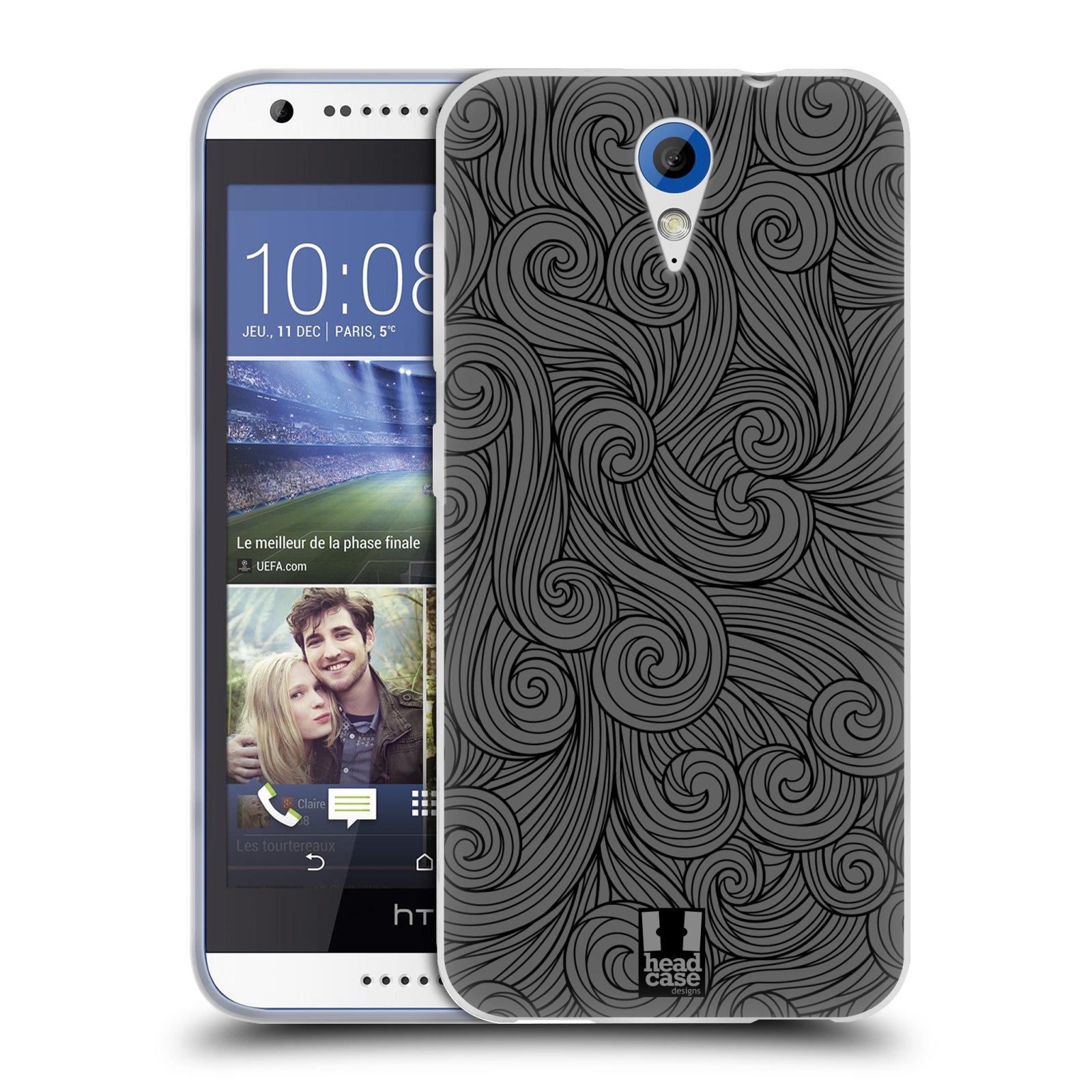 Silikonové pouzdro na mobil HTC Desire 620 HEAD CASE Dark Grey Swirls (Silikonový kryt či obal na mobilní telefon HTC Desire 620)