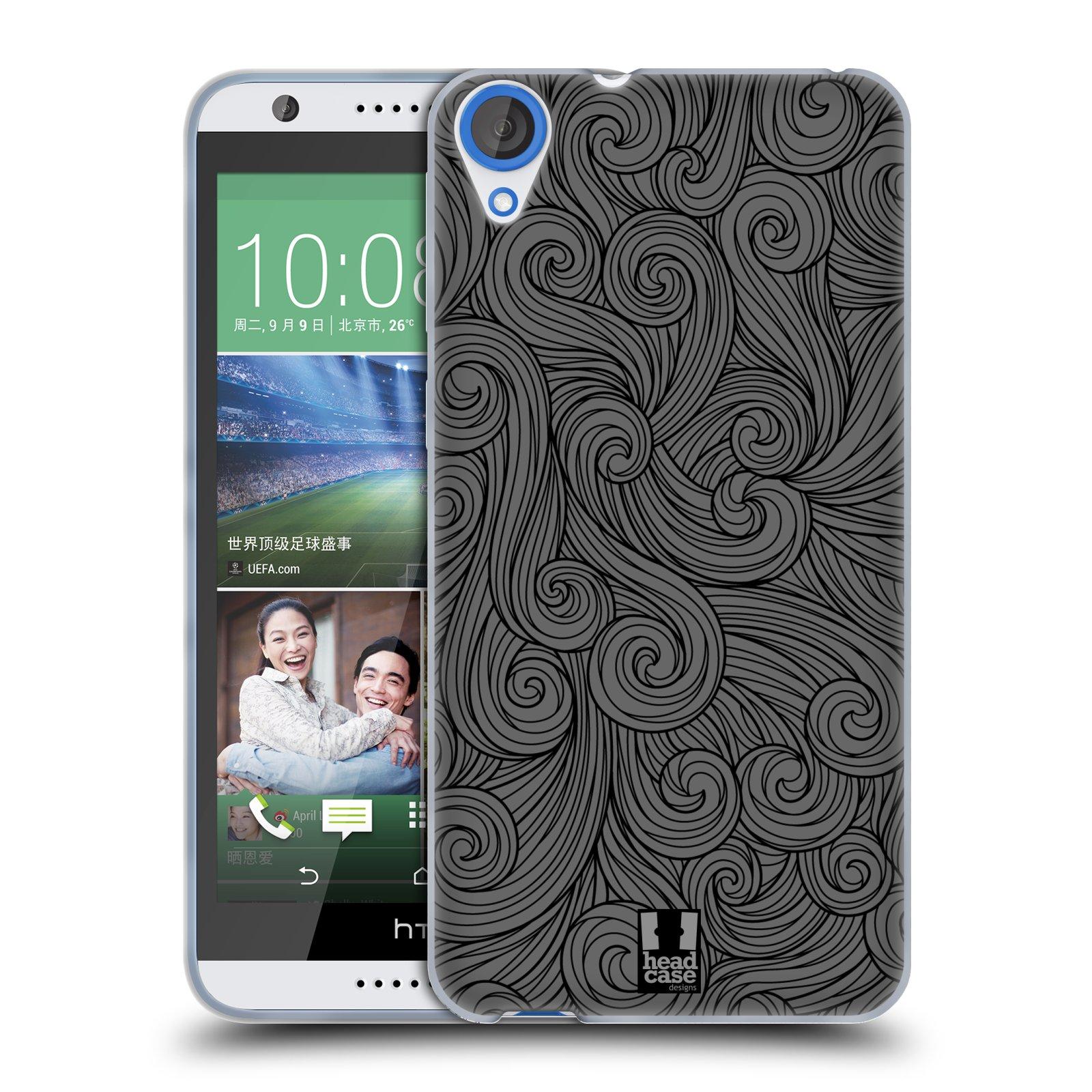 Silikonové pouzdro na mobil HTC Desire 820 HEAD CASE Dark Grey Swirls (Silikonový kryt či obal na mobilní telefon HTC Desire 820)