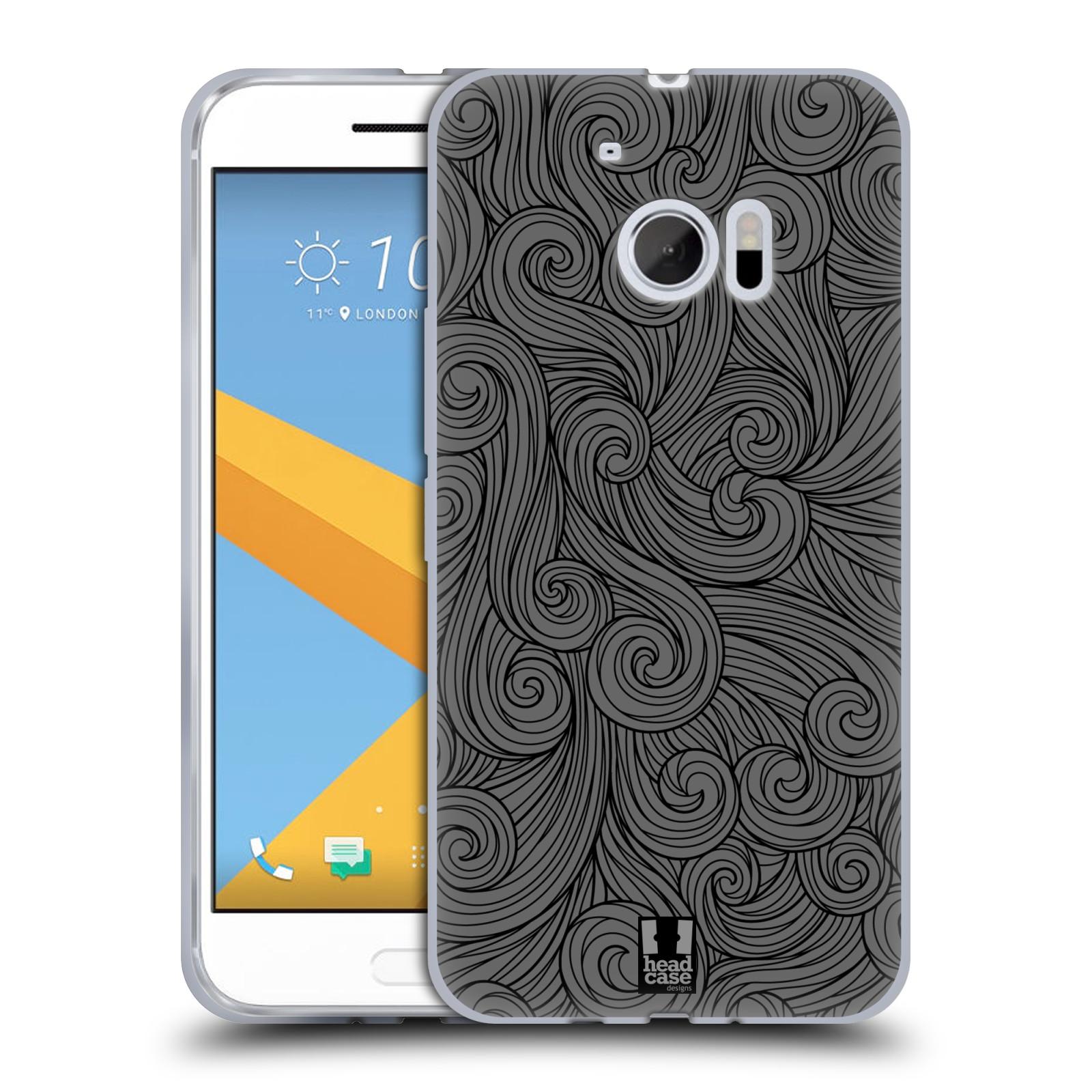 Silikonové pouzdro na mobil HTC 10 HEAD CASE Dark Grey Swirls (Silikonový kryt či obal na mobilní telefon HTC 10 (HTC One M10))