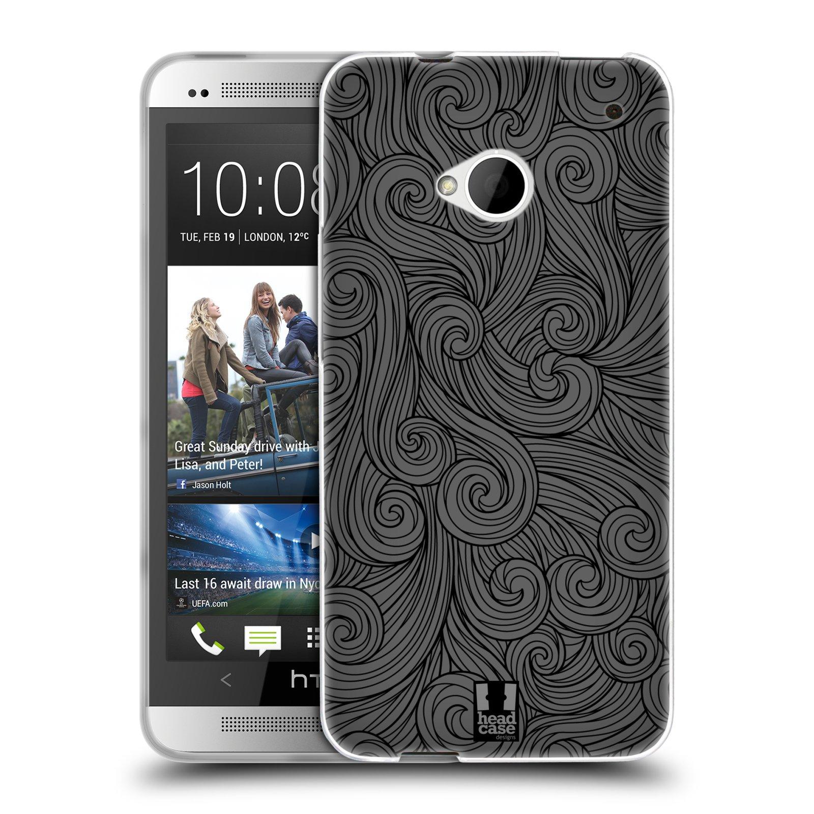 Silikonové pouzdro na mobil HTC ONE M7 HEAD CASE Dark Grey Swirls (Silikonový kryt či obal na mobilní telefon HTC ONE M7)
