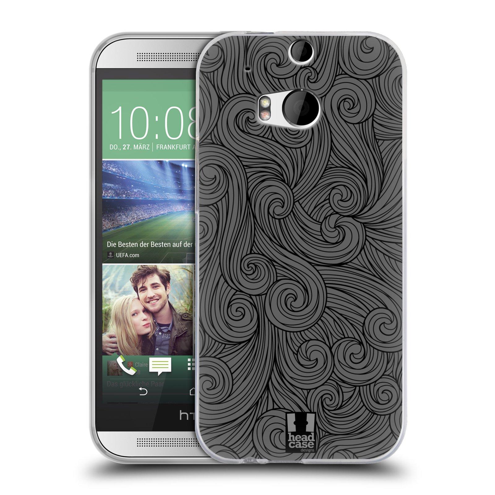 Silikonové pouzdro na mobil HTC ONE M8 HEAD CASE Dark Grey Swirls (Silikonový kryt či obal na mobilní telefon HTC ONE M8)