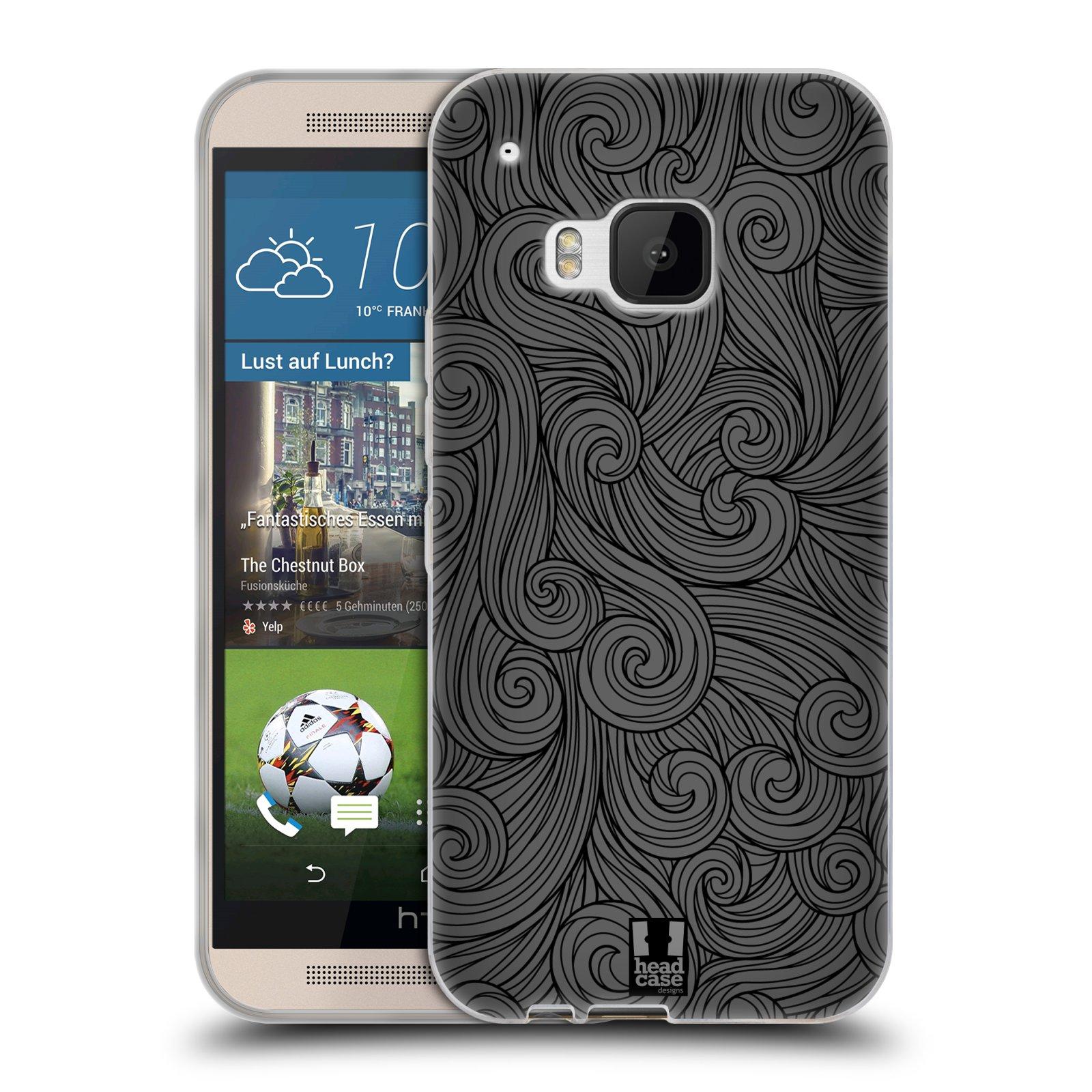 Silikonové pouzdro na mobil HTC ONE M9 HEAD CASE Dark Grey Swirls (Silikonový kryt či obal na mobilní telefon HTC ONE M9)