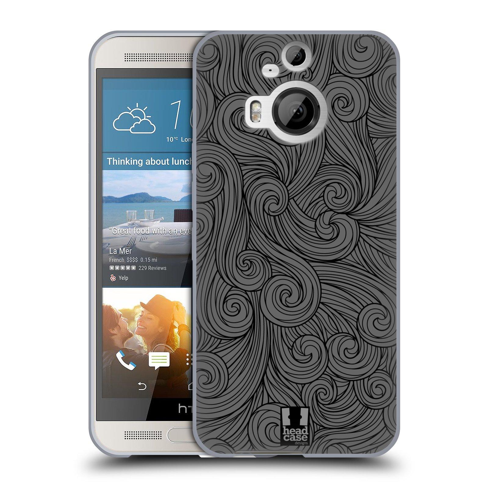 Silikonové pouzdro na mobil HTC One M9+ (Plus) HEAD CASE Dark Grey Swirls (Silikonový kryt či obal na mobilní telefon HTC One M9+)