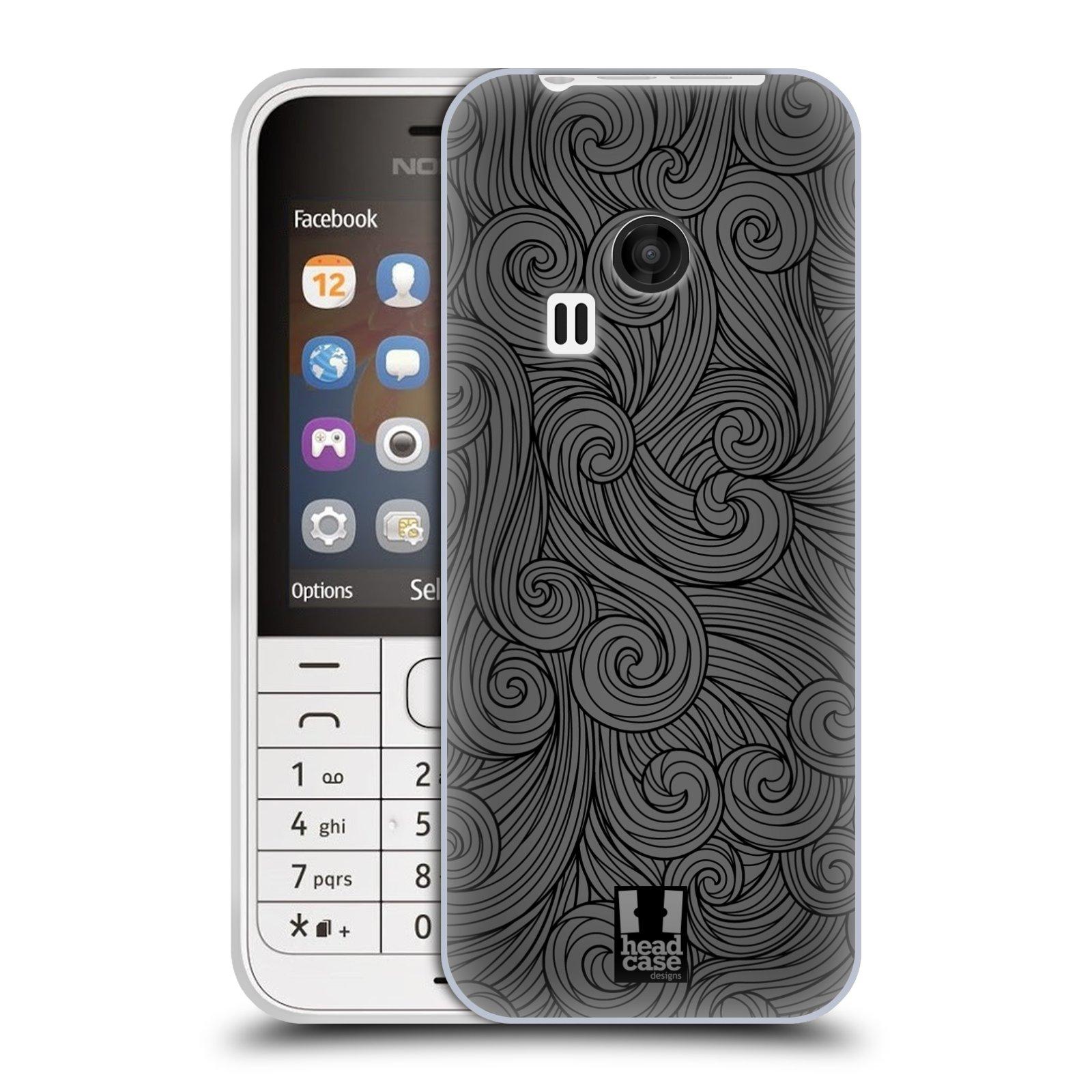 Silikonové pouzdro na mobil Nokia 220 HEAD CASE Dark Grey Swirls (Silikonový kryt či obal na mobilní telefon Nokia 220 a 220 Dual SIM)