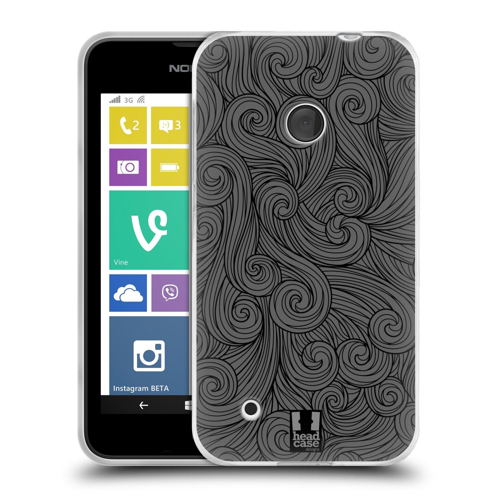 Silikonové pouzdro na mobil Nokia Lumia 530 HEAD CASE Dark Grey Swirls (Silikonový kryt či obal na mobilní telefon Nokia Lumia 530)
