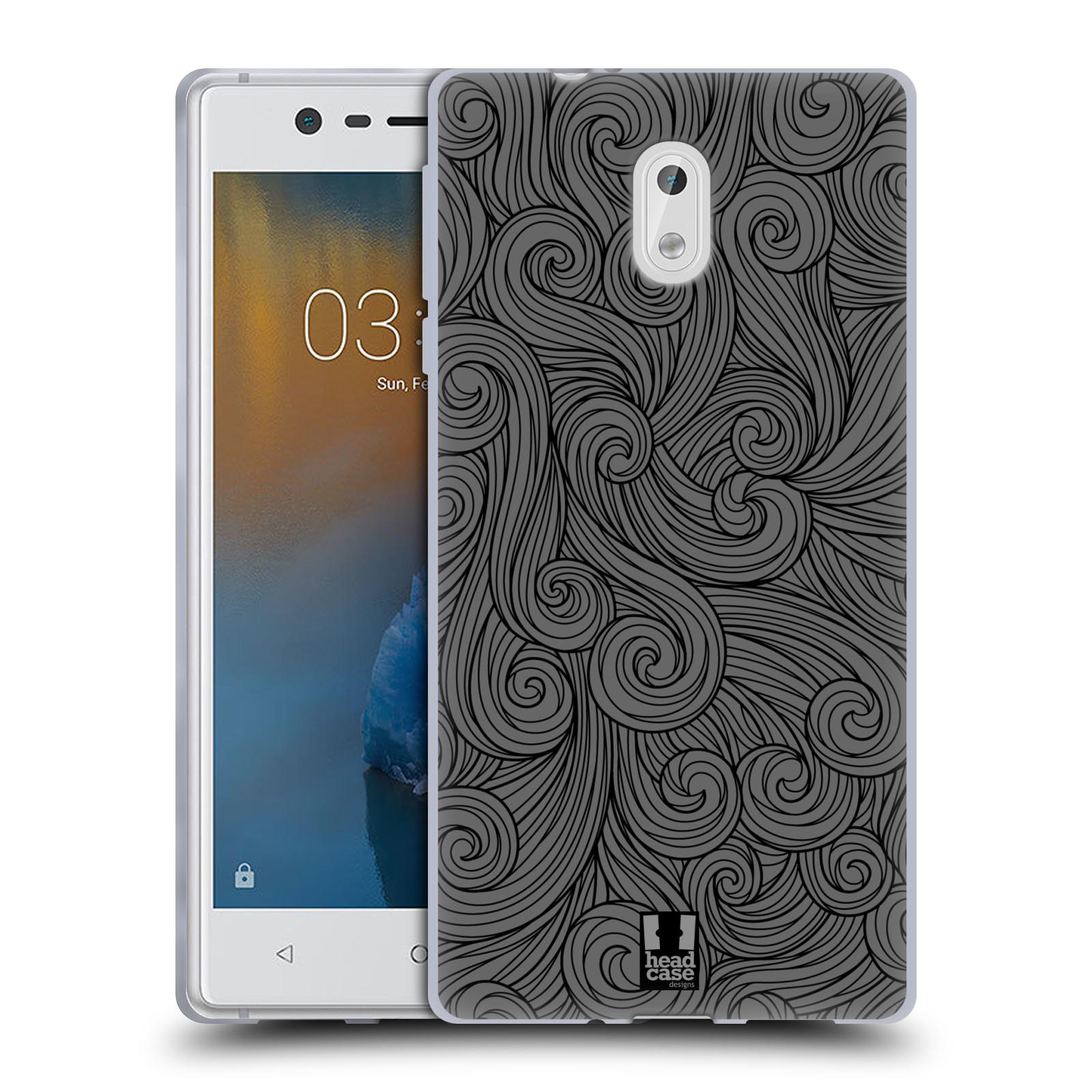 Silikonové pouzdro na mobil Nokia 3 Head Case - Dark Grey Swirls (Silikonový kryt či obal na mobilní telefon Nokia 3 (2017))