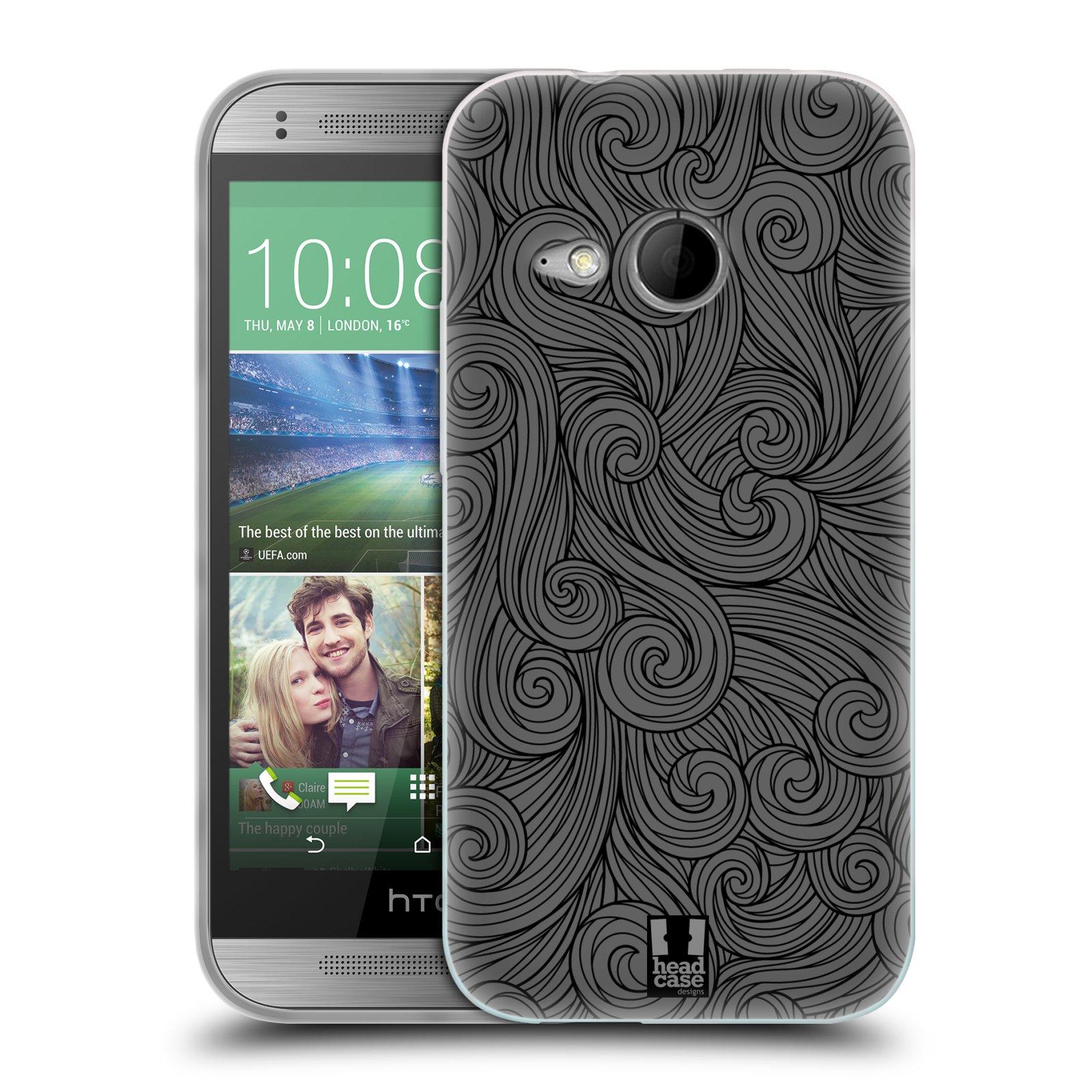 Silikonové pouzdro na mobil HTC ONE Mini 2 HEAD CASE Dark Grey Swirls (Silikonový kryt či obal na mobilní telefon HTC ONE Mini 2)