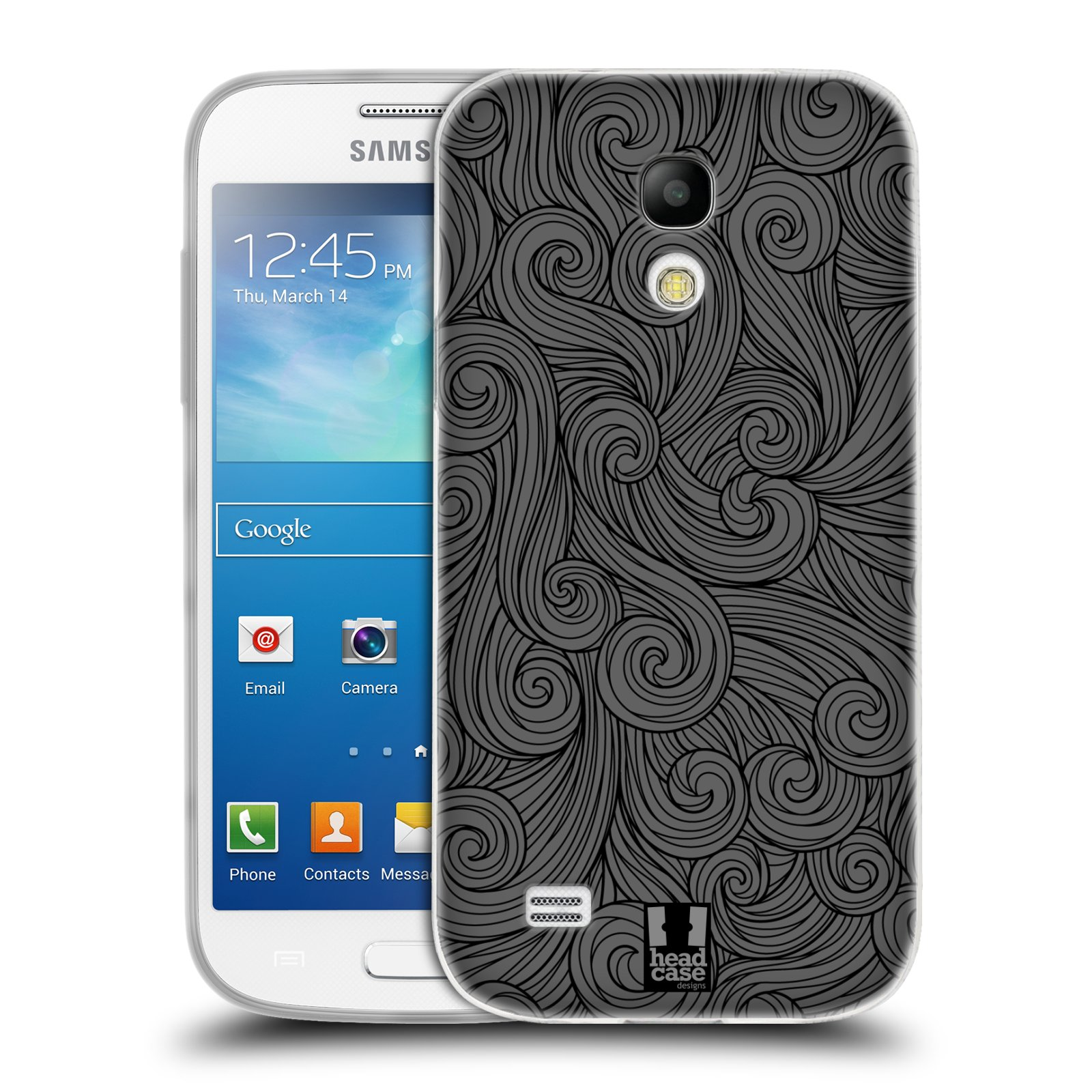 Silikonové pouzdro na mobil Samsung Galaxy S4 Mini HEAD CASE Dark Grey Swirls (Silikonový kryt či obal na mobilní telefon Samsung Galaxy S4 Mini GT-i9195 / i9190)