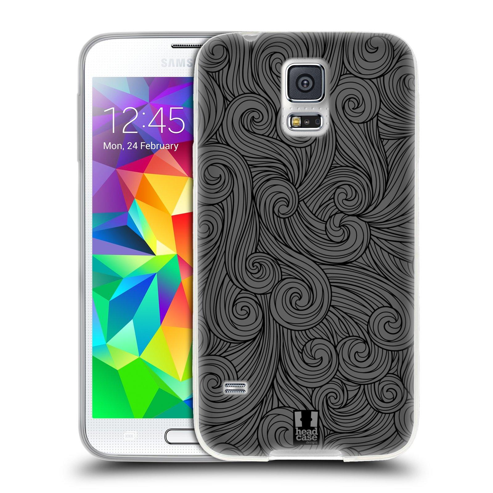 Silikonové pouzdro na mobil Samsung Galaxy S5 HEAD CASE Dark Grey Swirls (Silikonový kryt či obal na mobilní telefon Samsung Galaxy S5 SM-G900F)