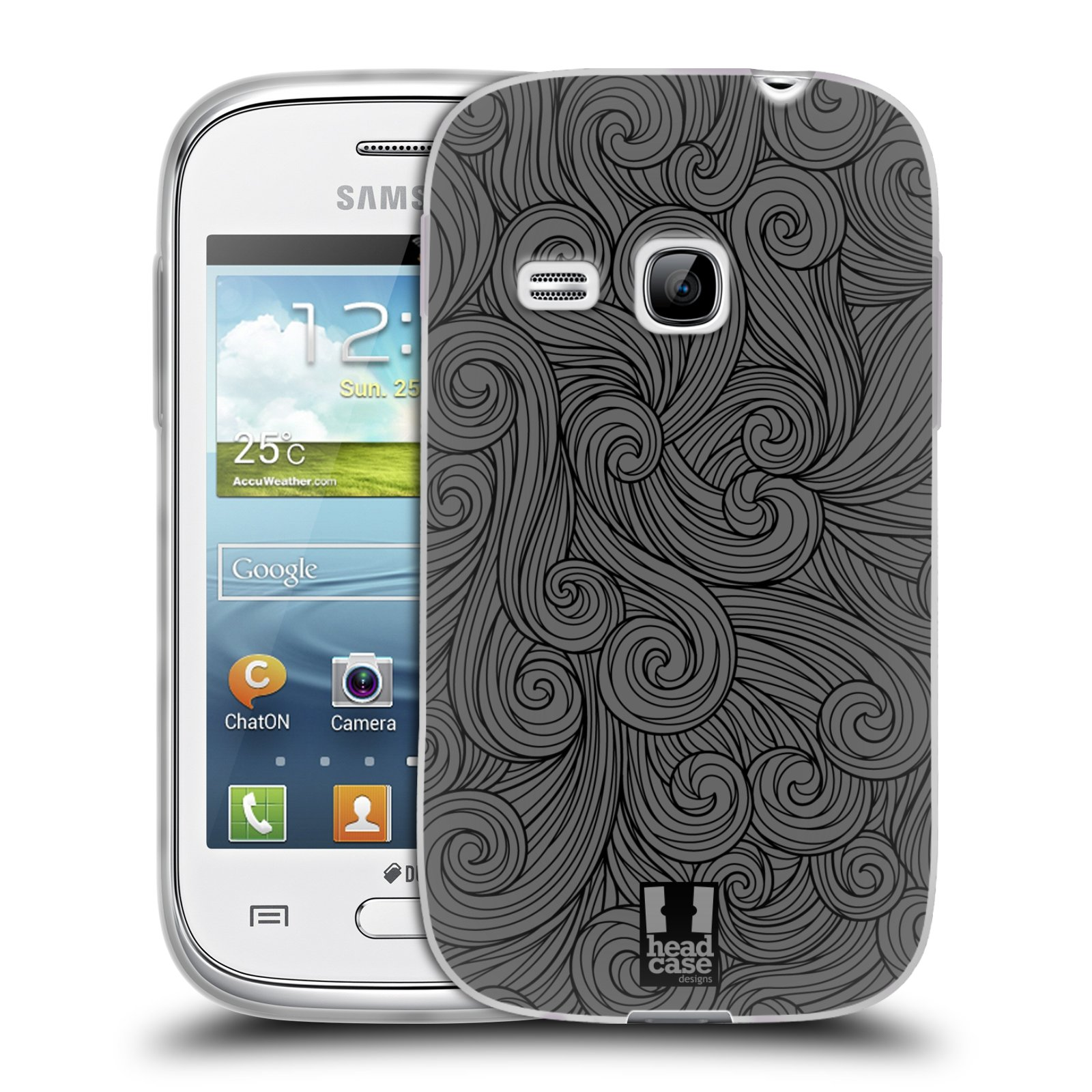 Silikonové pouzdro na mobil Samsung Galaxy Young HEAD CASE Dark Grey Swirls (Silikonový kryt či obal na mobilní telefon Samsung Galaxy Young GT-S6310)
