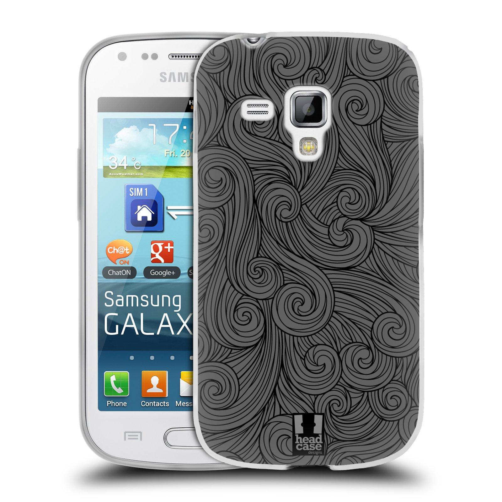 Silikonové pouzdro na mobil Samsung Galaxy Trend Plus HEAD CASE Dark Grey Swirls (Silikonový kryt či obal na mobilní telefon Samsung Galaxy Trend Plus GT-S7580)