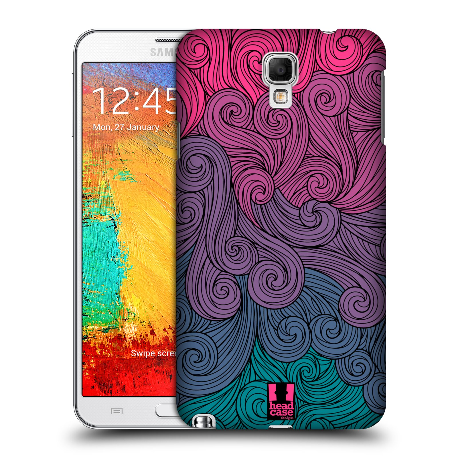 Plastové pouzdro na mobil Samsung Galaxy Note 3 Neo HEAD CASE Swirls Hot Pink (Kryt či obal na mobilní telefon Samsung Galaxy Note 3 Neo SM-N7505)