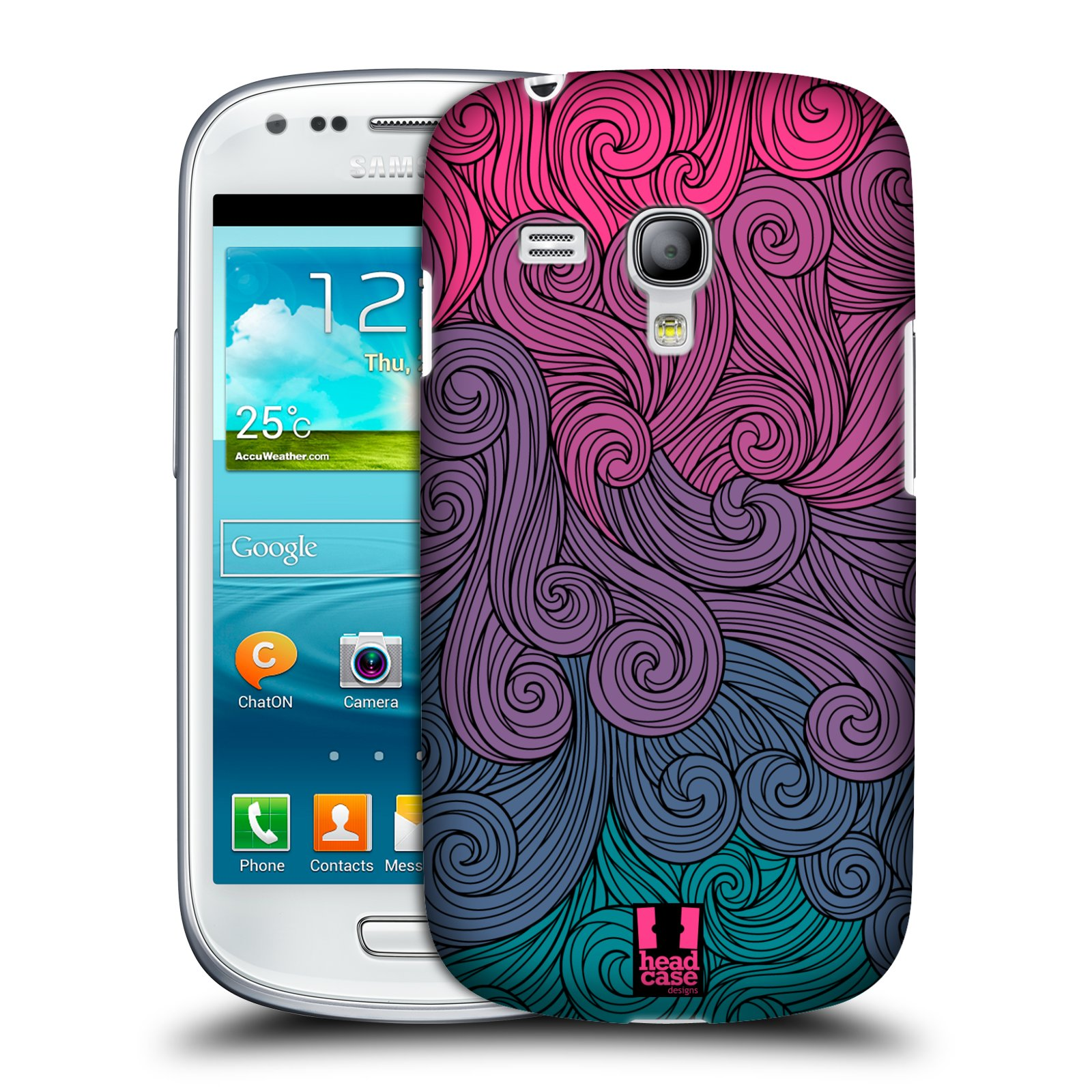 Plastové pouzdro na mobil Samsung Galaxy S III Mini HEAD CASE Swirls Hot Pink (Kryt či obal na mobilní telefon Samsung Galaxy S III Mini GT-i8190)