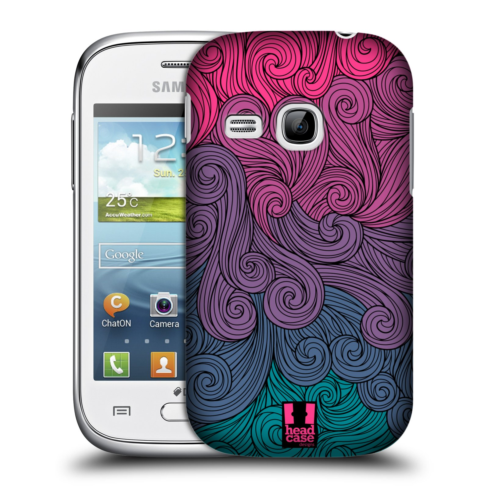 Plastové pouzdro na mobil Samsung Galaxy Young HEAD CASE Swirls Hot Pink (Kryt či obal na mobilní telefon Samsung Galaxy Young GT-S6310)