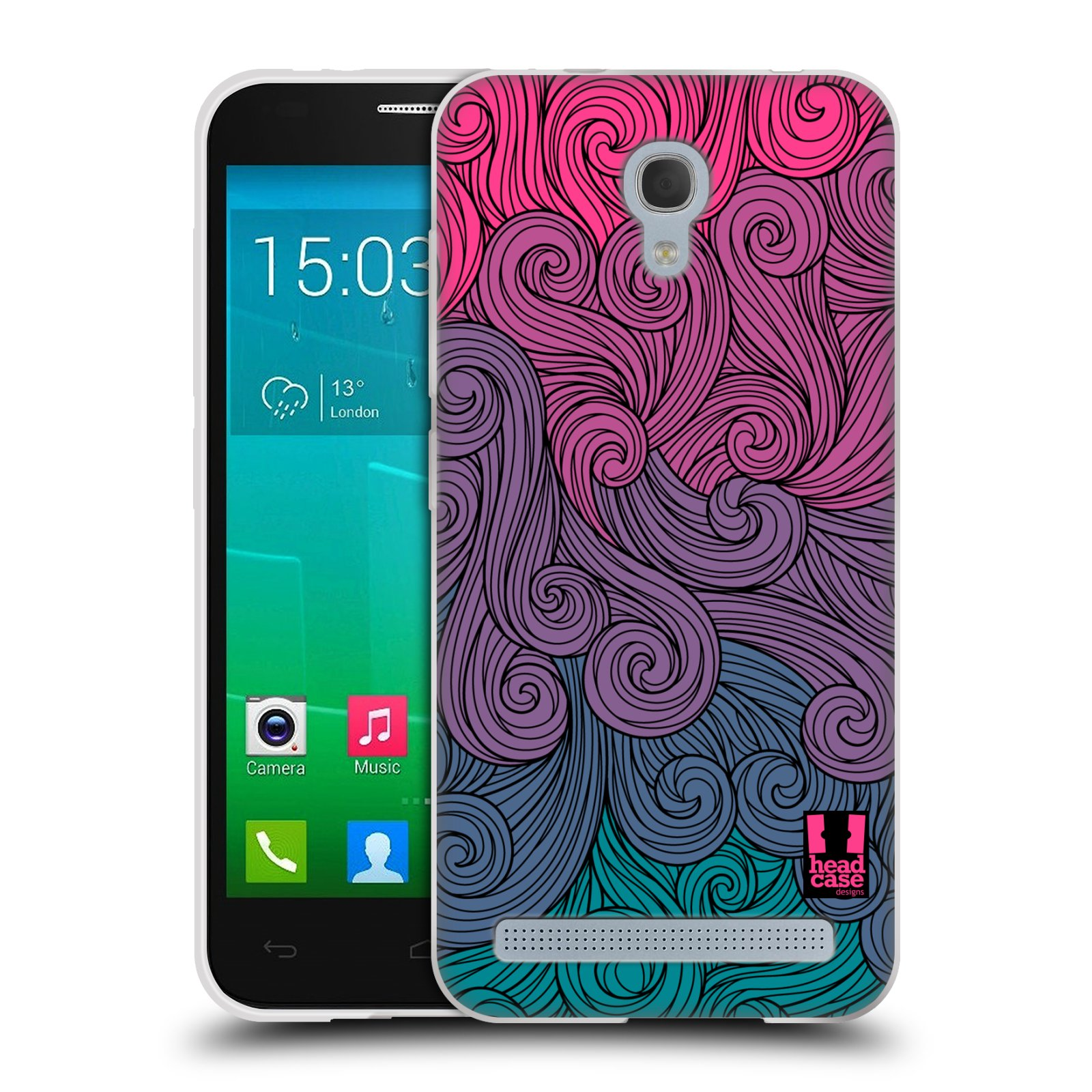 Silikonové pouzdro na mobil Alcatel One Touch Idol 2 Mini S 6036Y HEAD CASE Swirls Hot Pink (Silikonový kryt či obal na mobilní telefon Alcatel Idol 2 Mini S OT-6036Y)