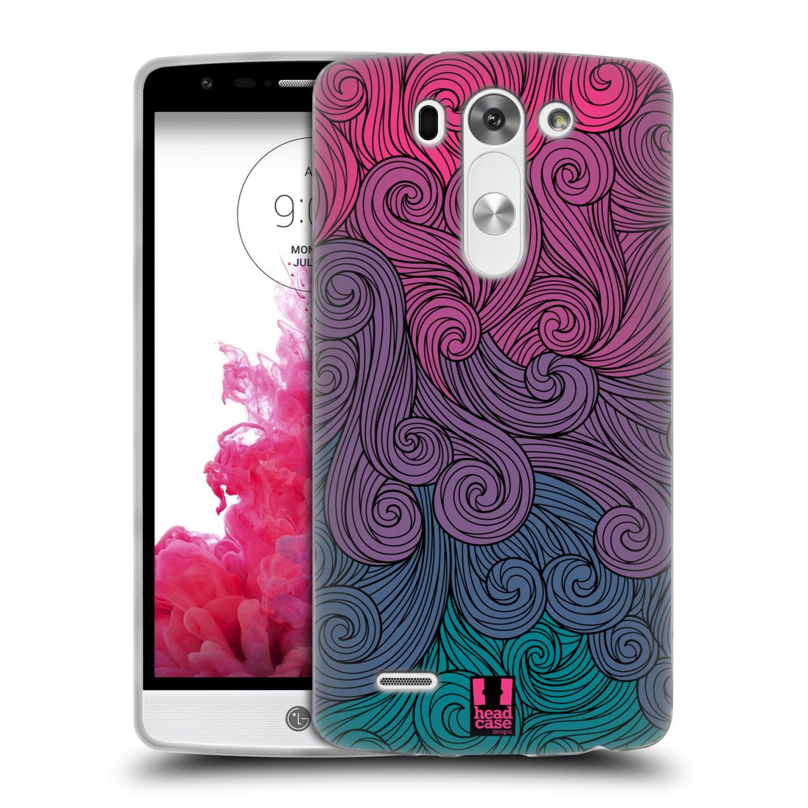 Silikonové pouzdro na mobil LG G3s HEAD CASE Swirls Hot Pink (Silikonový kryt či obal na mobilní telefon LG G3s)