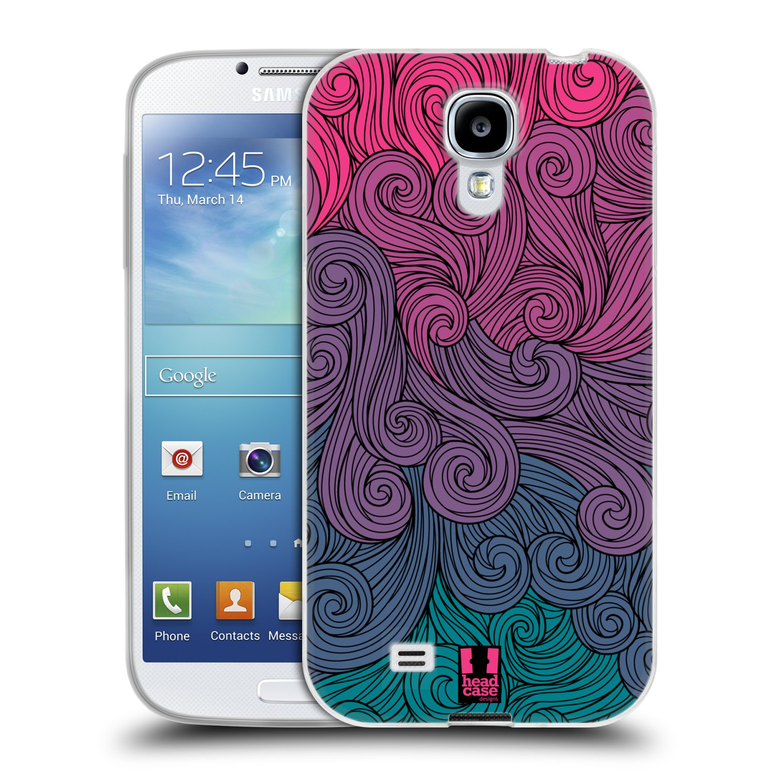 Silikonové pouzdro na mobil Samsung Galaxy S4 HEAD CASE Swirls Hot Pink (Silikonový kryt či obal na mobilní telefon Samsung Galaxy S4 GT-i9505 / i9500)