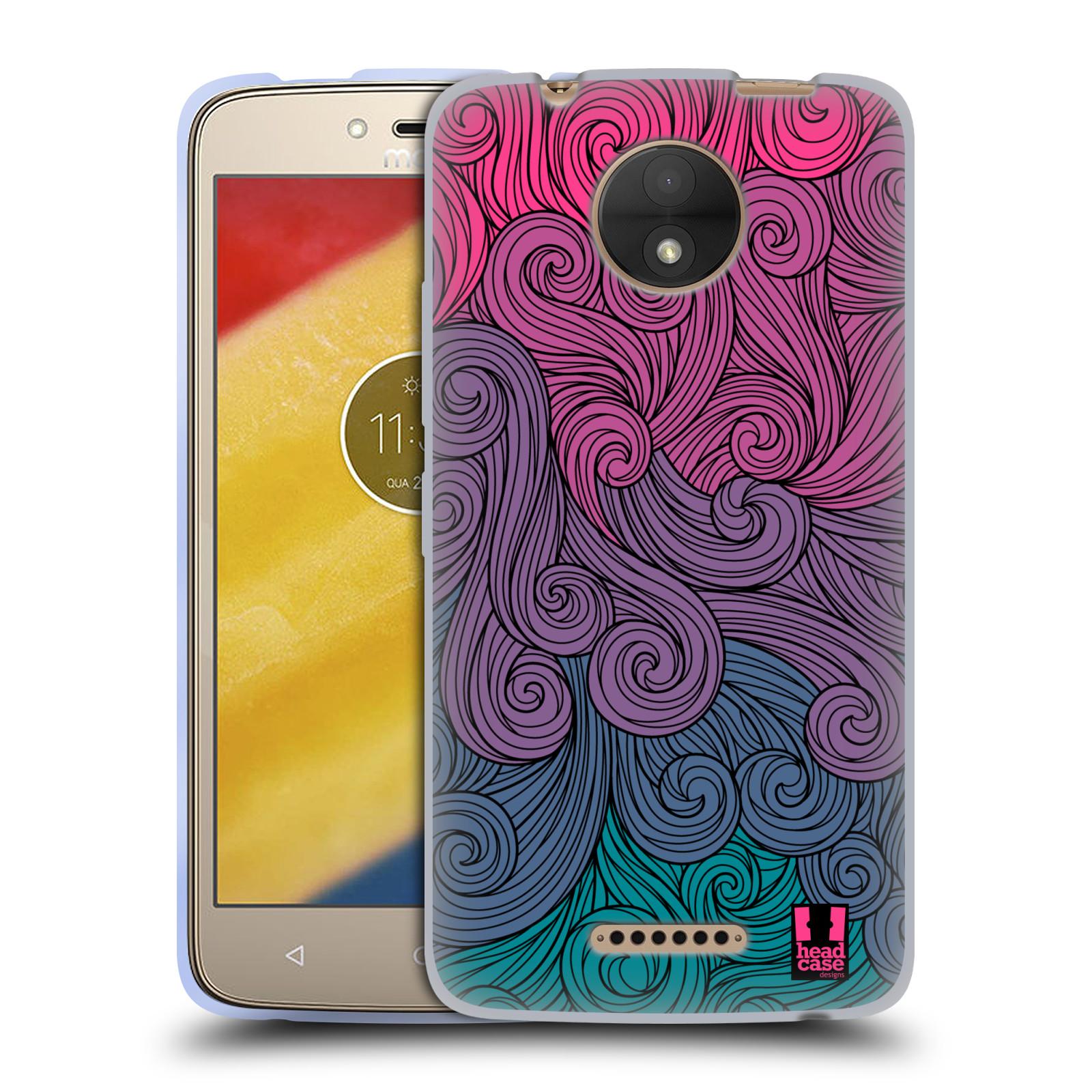 Silikonové pouzdro na mobil Lenovo Moto C - Head Case - Swirls Hot Pink (Silikonový kryt či obal na mobilní telefon Lenovo Moto C s motivem Swirls Hot Pink)