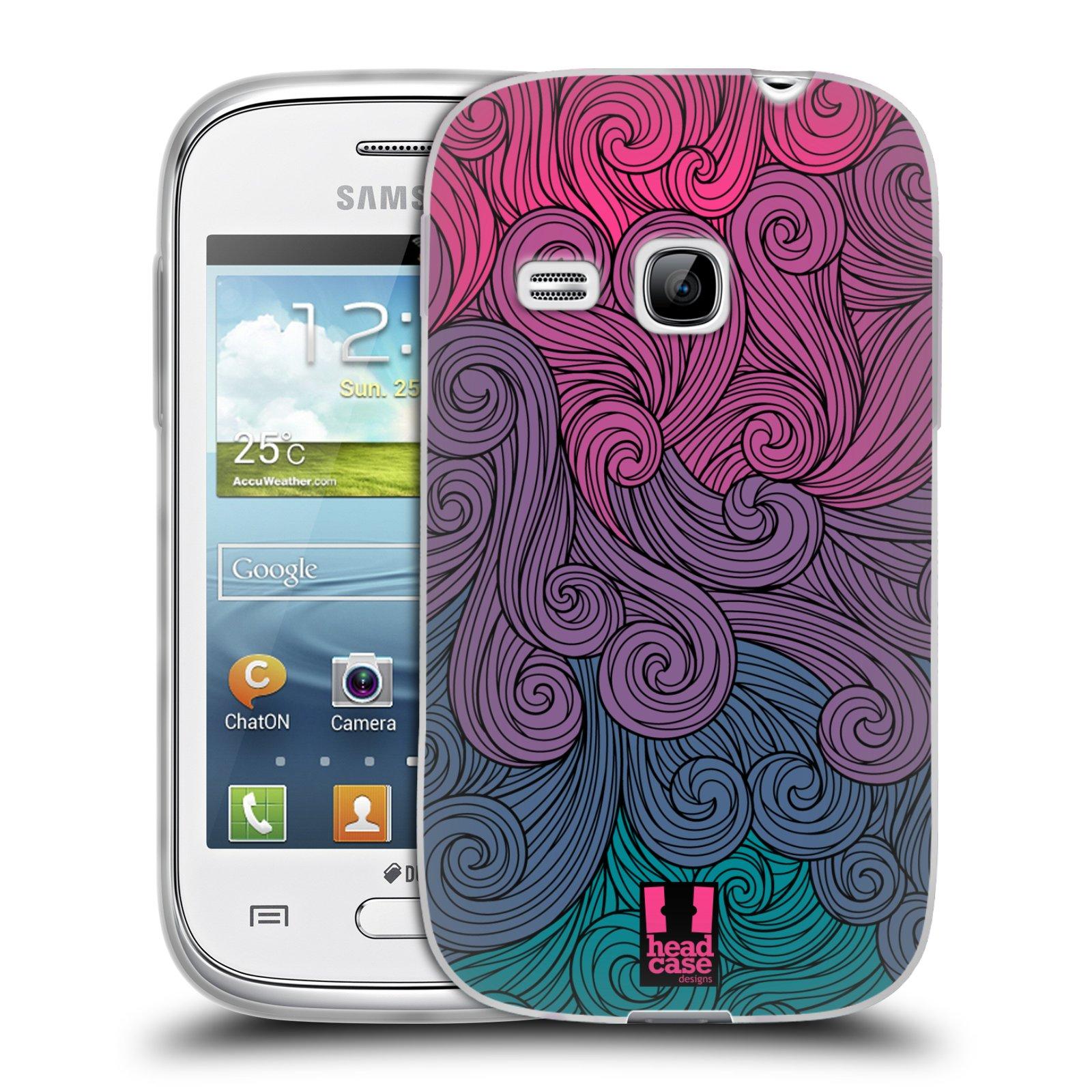 Silikonové pouzdro na mobil Samsung Galaxy Young HEAD CASE Swirls Hot Pink (Silikonový kryt či obal na mobilní telefon Samsung Galaxy Young GT-S6310)