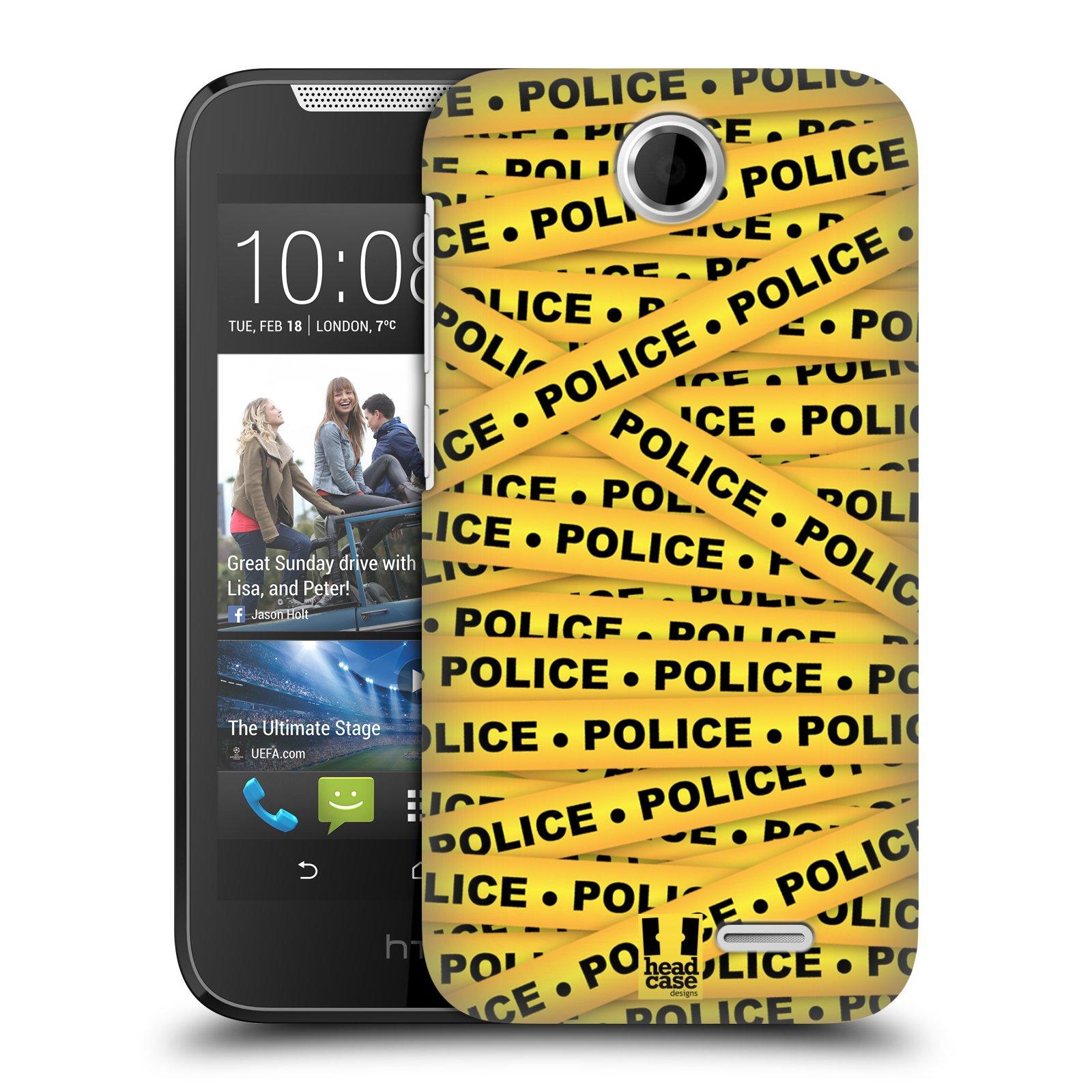 Plastové pouzdro na mobil HTC Desire 310 HEAD CASE POLICEJNÍ PÁSKA