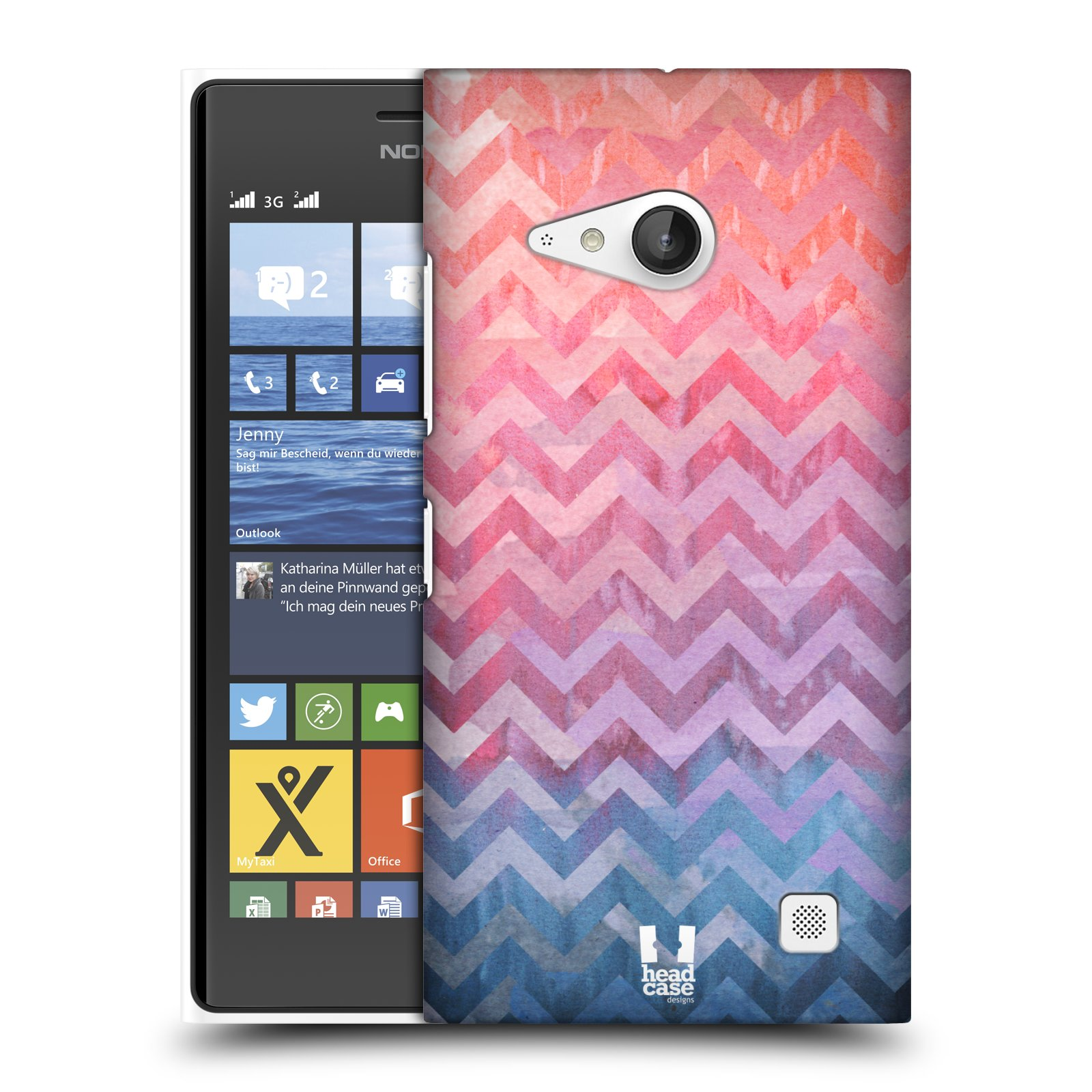 Plastové pouzdro na mobil Nokia Lumia 735 HEAD CASE Pink Chevron (Kryt či obal na mobilní telefon Nokia Lumia 735)