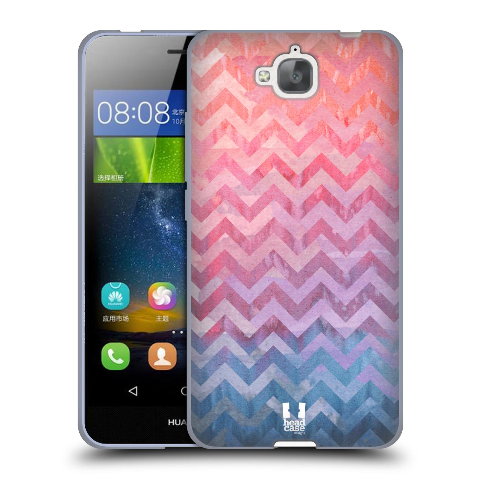 Silikonové pouzdro na mobil Huawei Y6 Pro Dual Sim HEAD CASE Pink Chevron