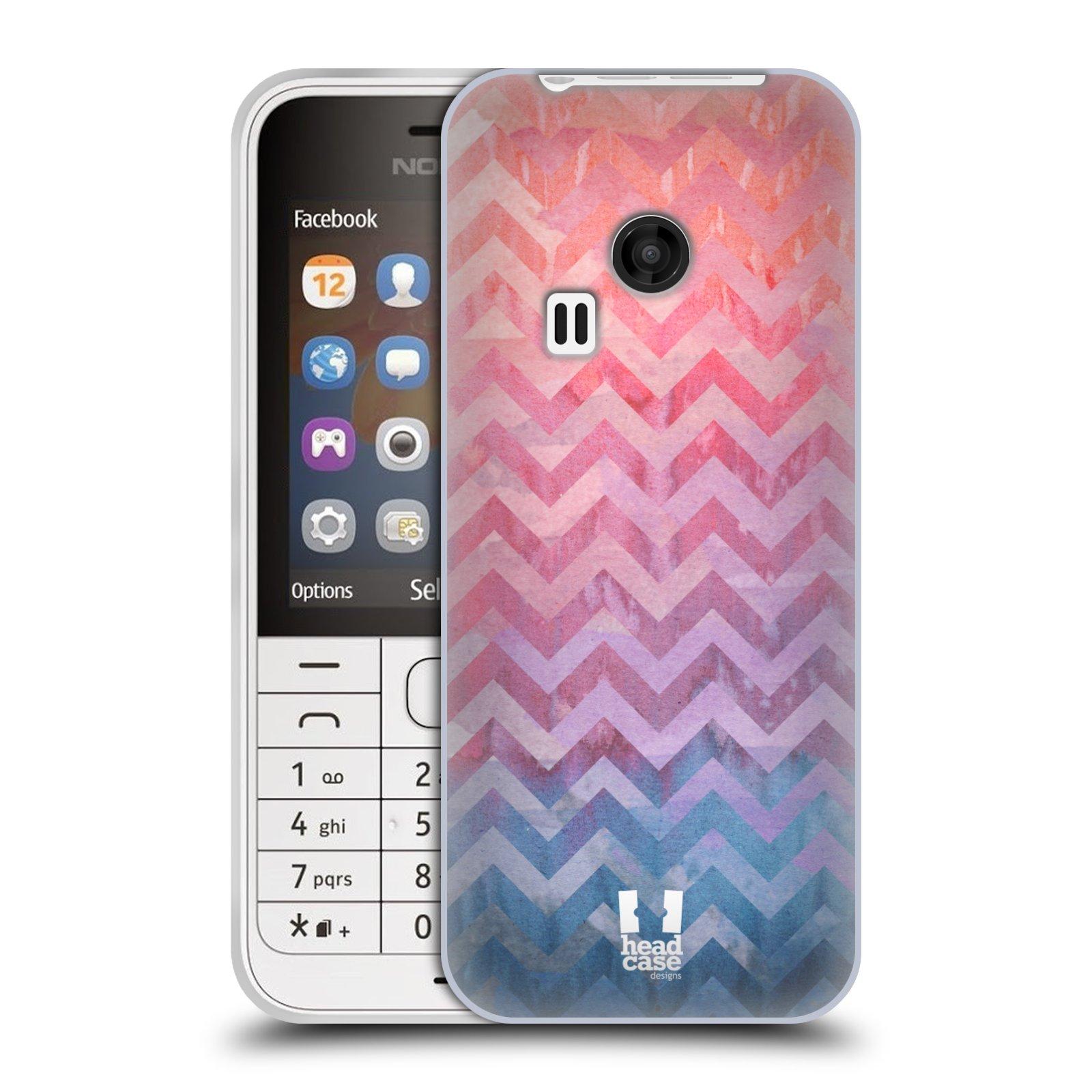 Silikonové pouzdro na mobil Nokia 220 HEAD CASE Pink Chevron (Silikonový kryt či obal na mobilní telefon Nokia 220 a 220 Dual SIM)