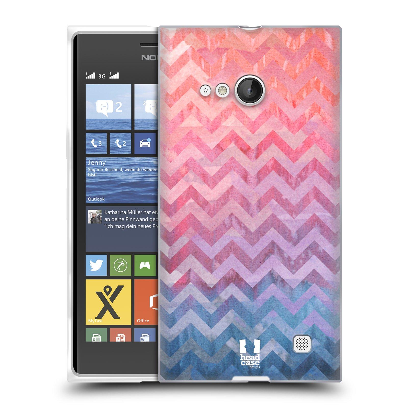 Silikonové pouzdro na mobil Nokia Lumia 730 Dual SIM HEAD CASE Pink Chevron (Silikonový kryt či obal na mobilní telefon Nokia Lumia 730 Dual SIM)
