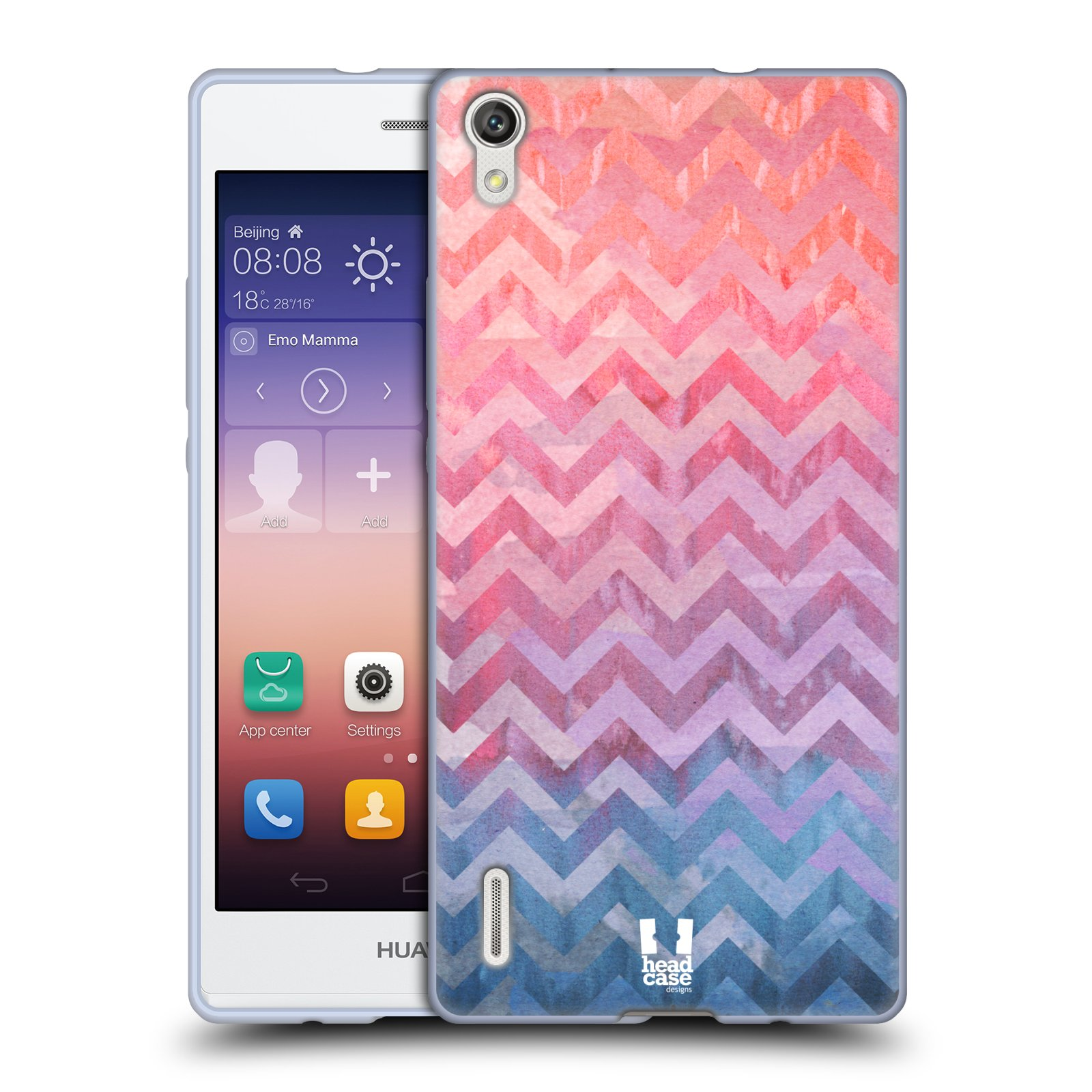 Silikonové pouzdro na mobil Huawei P7 HEAD CASE Pink Chevron (Silikonový kryt či obal na mobilní telefon Huawei Ascend P7)