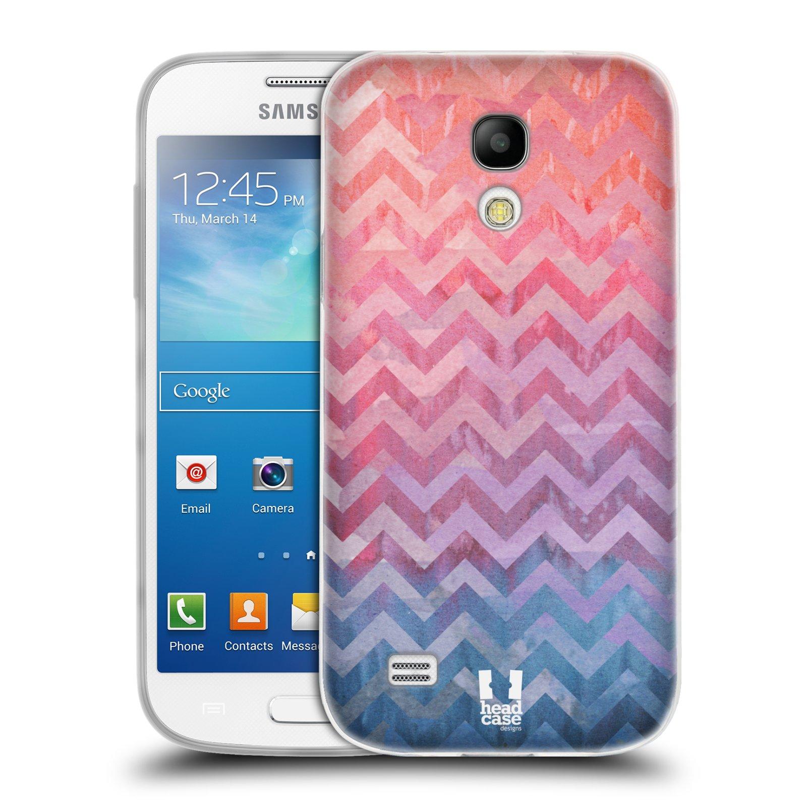 Silikonové pouzdro na mobil Samsung Galaxy S4 Mini HEAD CASE Pink Chevron (Silikonový kryt či obal na mobilní telefon Samsung Galaxy S4 Mini GT-i9195 / i9190)