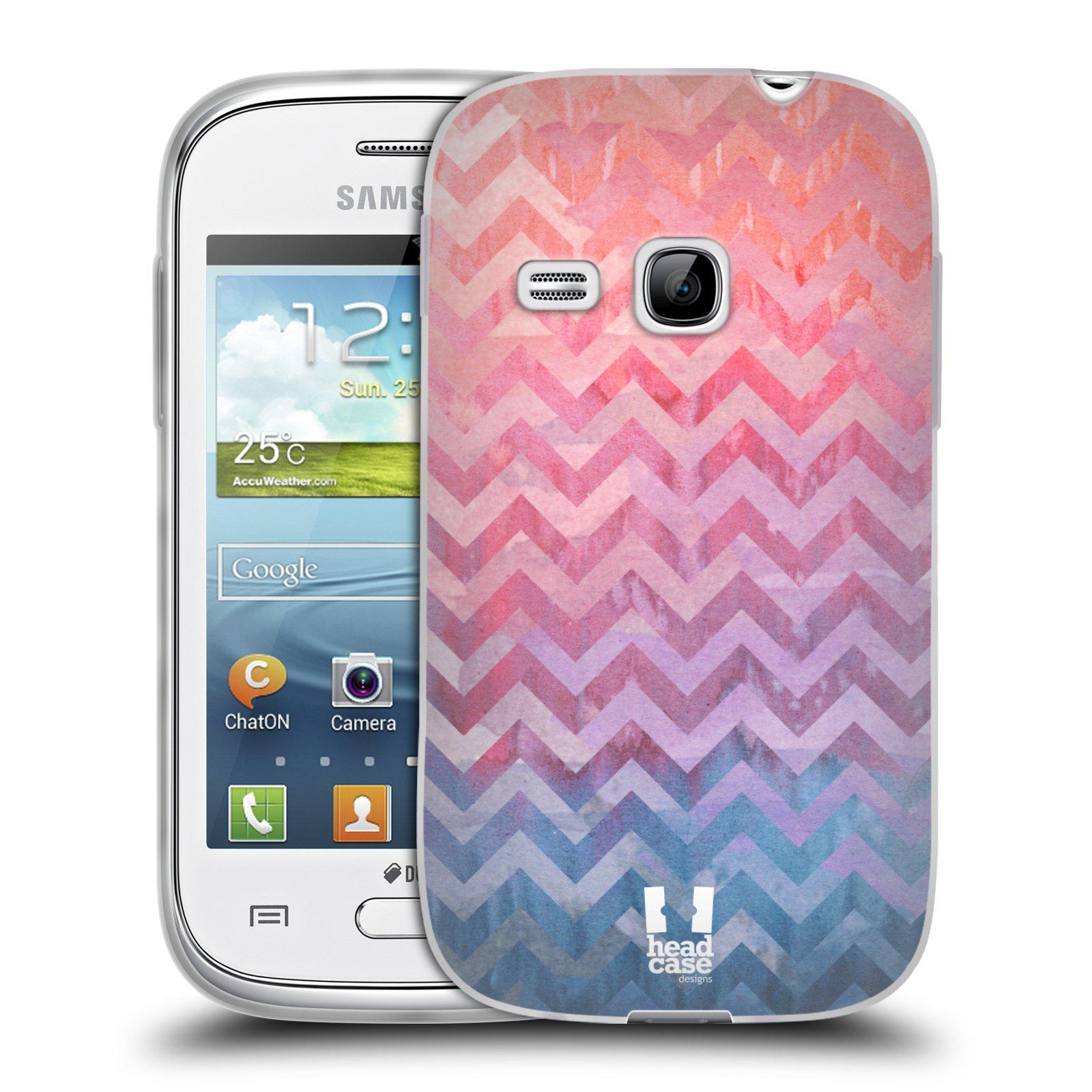 Silikonové pouzdro na mobil Samsung Galaxy Young HEAD CASE Pink Chevron (Silikonový kryt či obal na mobilní telefon Samsung Galaxy Young GT-S6310)