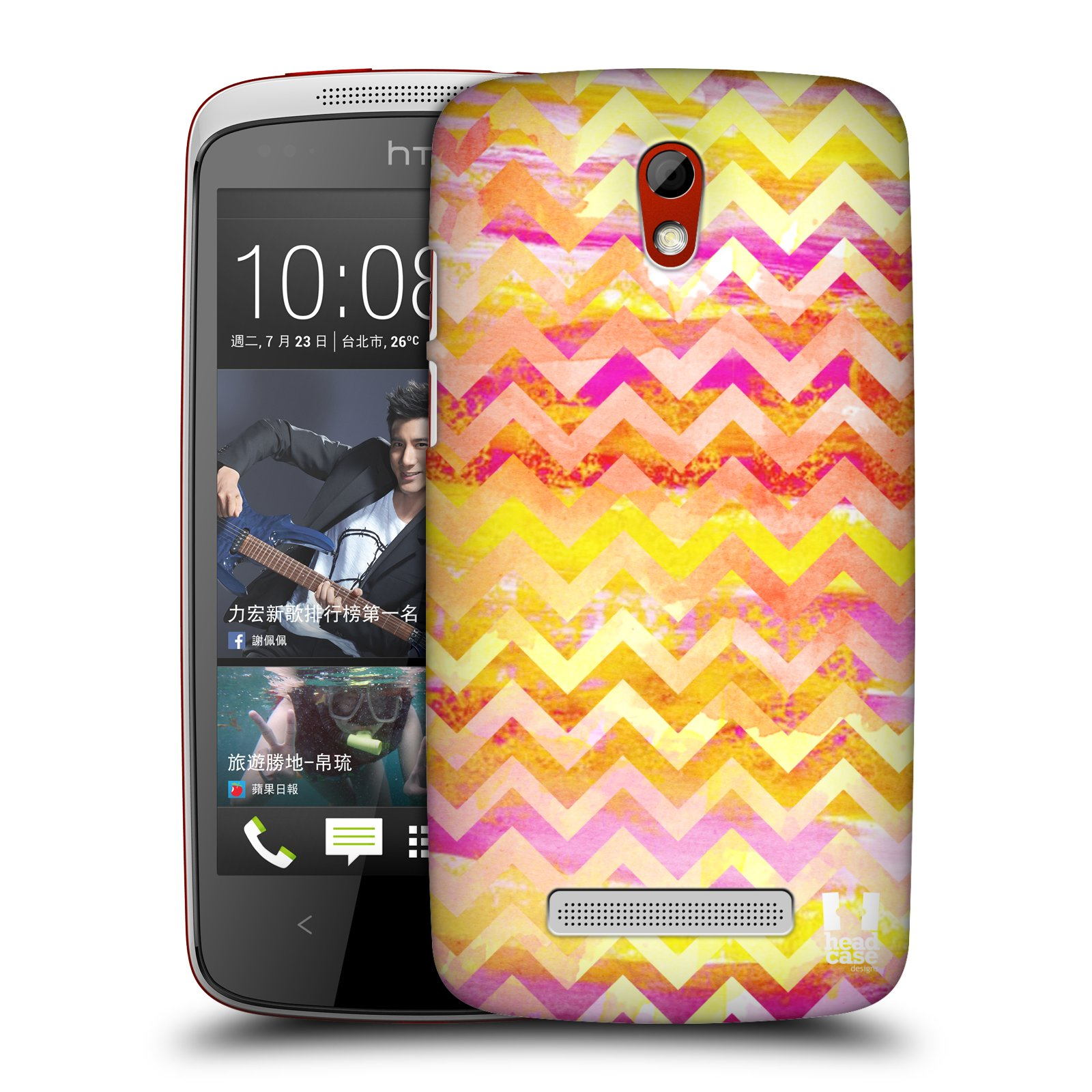 Plastové pouzdro na mobil HTC Desire 500 HEAD CASE Yellow Chevron (Kryt či obal na mobilní telefon HTC Desire 500)