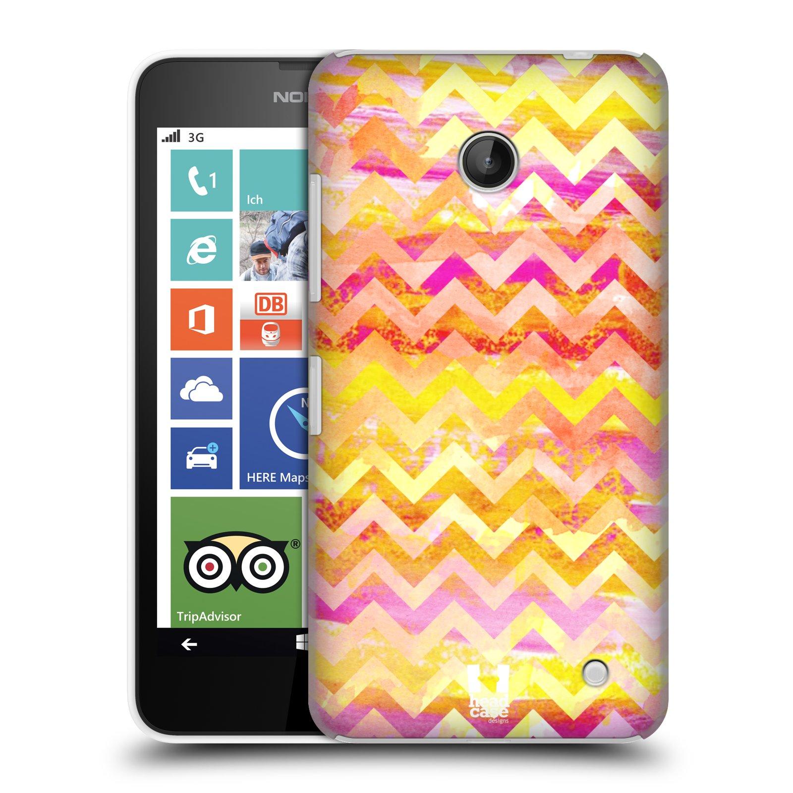 Plastové pouzdro na mobil Nokia Lumia 630 HEAD CASE Yellow Chevron (Kryt či obal na mobilní telefon Nokia Lumia 630 a Nokia Lumia 630 Dual SIM)