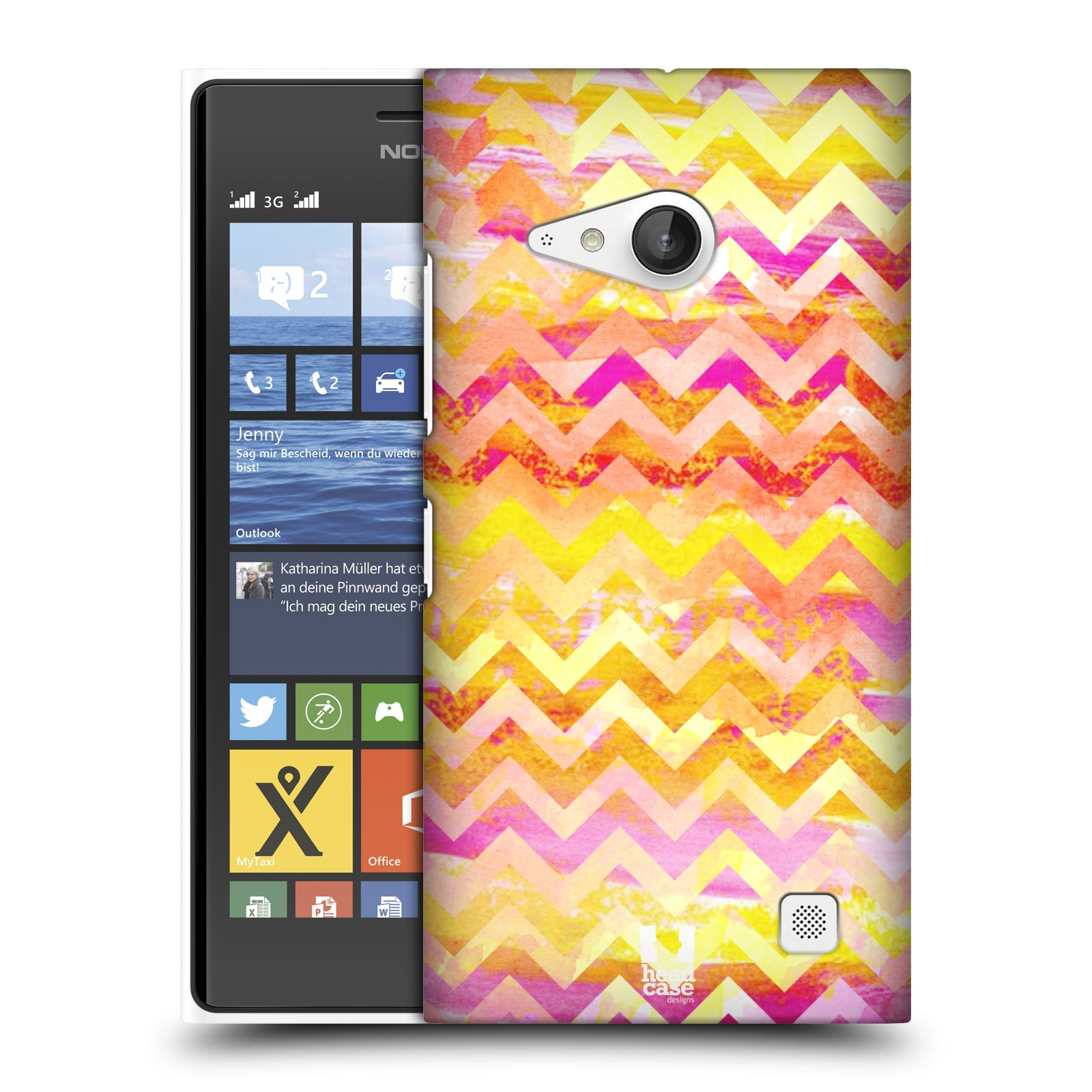 Plastové pouzdro na mobil Nokia Lumia 730 Dual SIM HEAD CASE Yellow Chevron (Kryt či obal na mobilní telefon Nokia Lumia 730 Dual SIM)