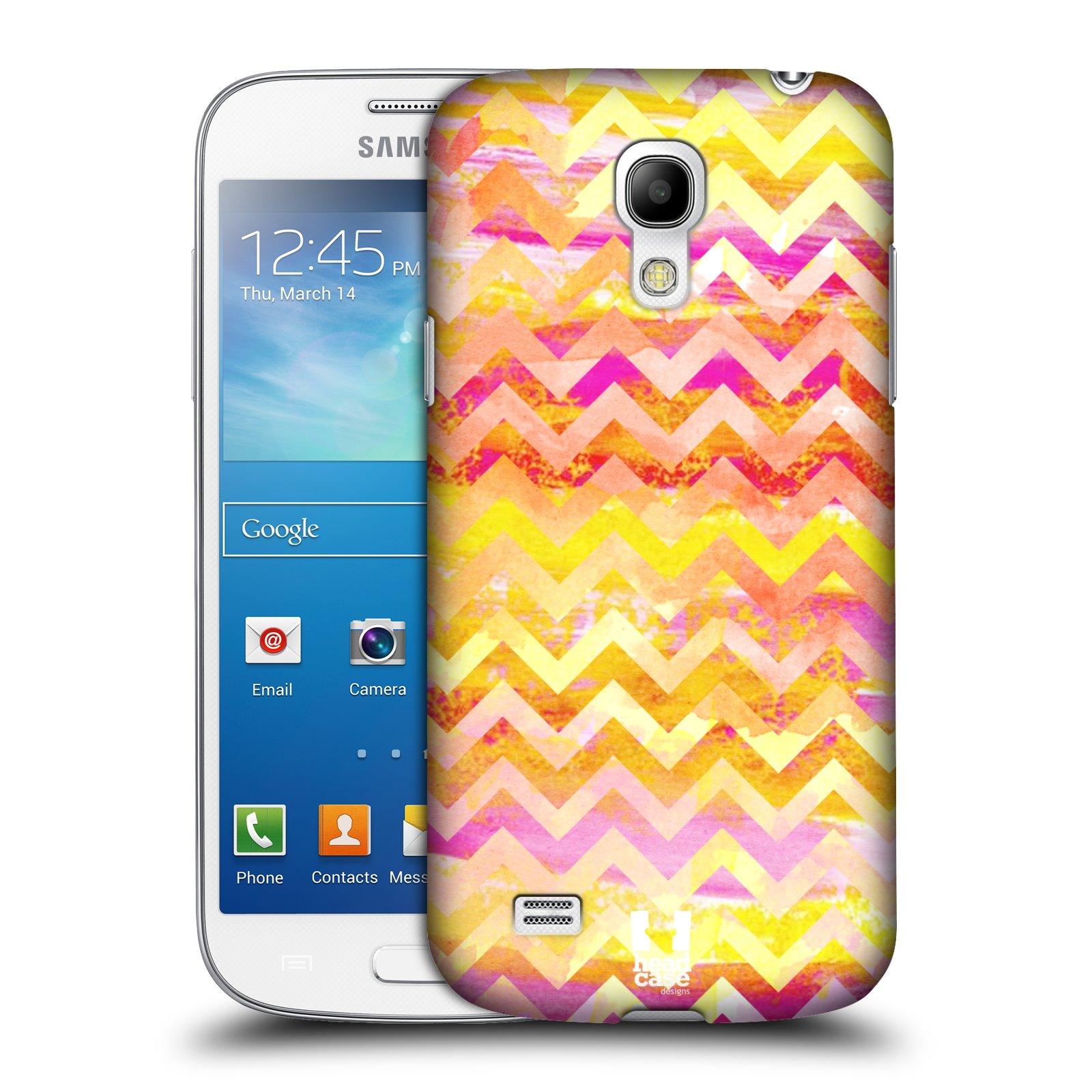 Plastové pouzdro na mobil Samsung Galaxy S4 Mini VE HEAD CASE Yellow Chevron (Kryt či obal na mobilní telefon Samsung Galaxy S4 Mini VE GT-i9195i)