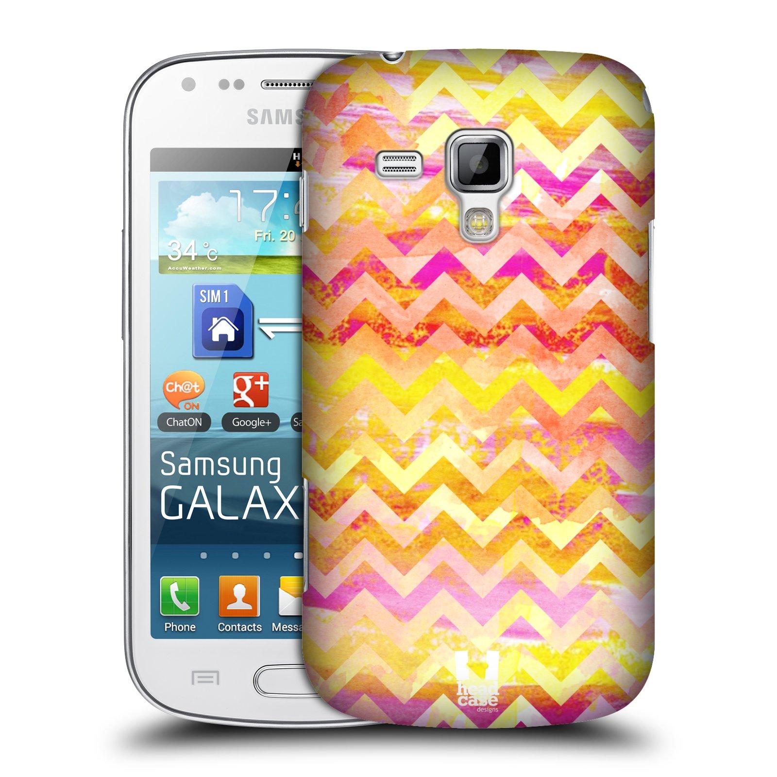 Plastové pouzdro na mobil Samsung Galaxy S Duos HEAD CASE Yellow Chevron (Kryt či obal na mobilní telefon Samsung Galaxy S Duos GT-S7562)