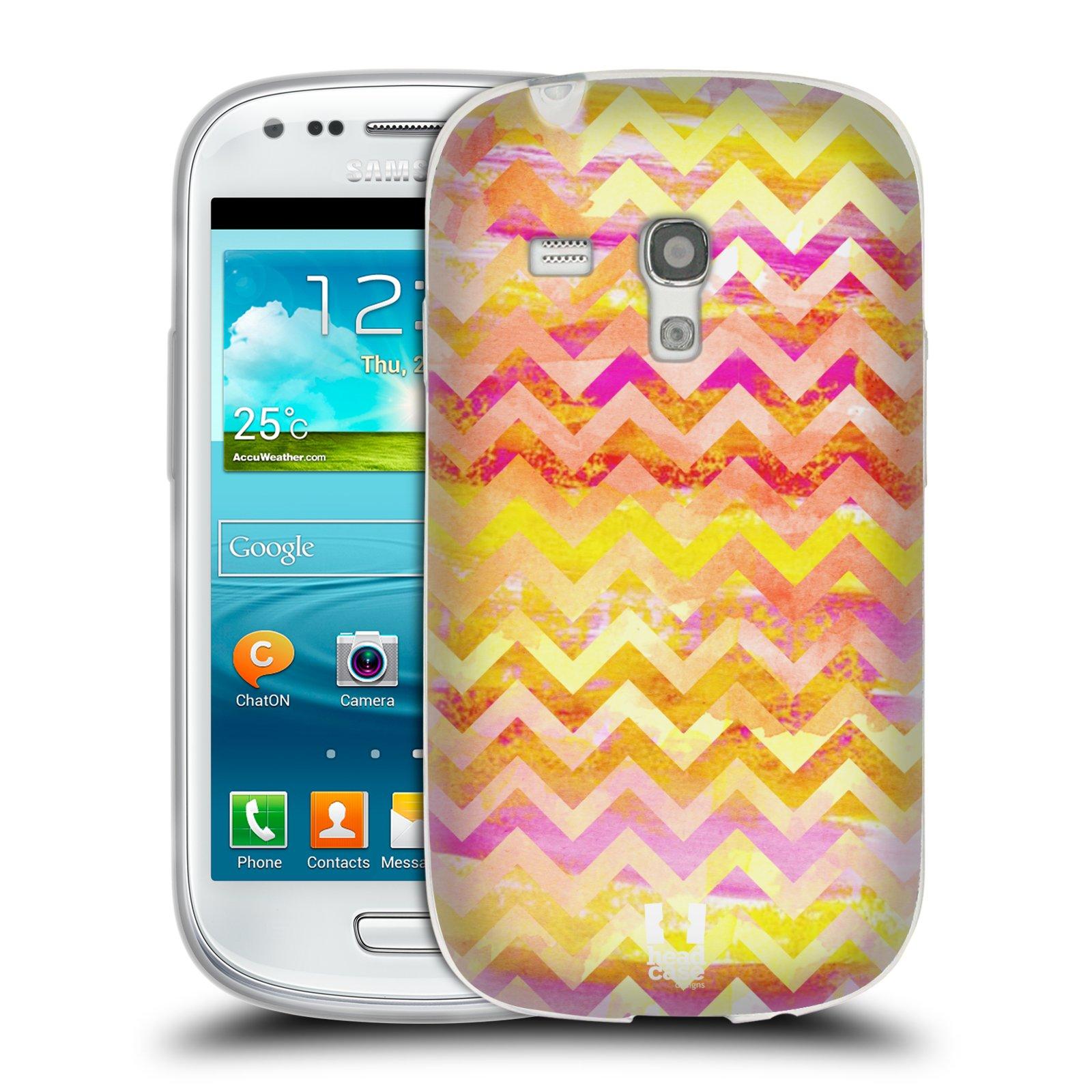 Silikonové pouzdro na mobil Samsung Galaxy S3 Mini VE HEAD CASE Yellow Chevron (Silikonový kryt či obal na mobilní telefon Samsung Galaxy S3 Mini VE GT-i8200)