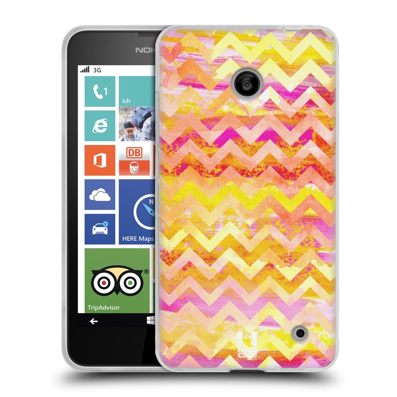 Silikonové pouzdro na mobil Nokia Lumia 630 HEAD CASE Yellow Chevron (Silikonový kryt či obal na mobilní telefon Nokia Lumia 630 a Nokia Lumia 630 Dual SIM)