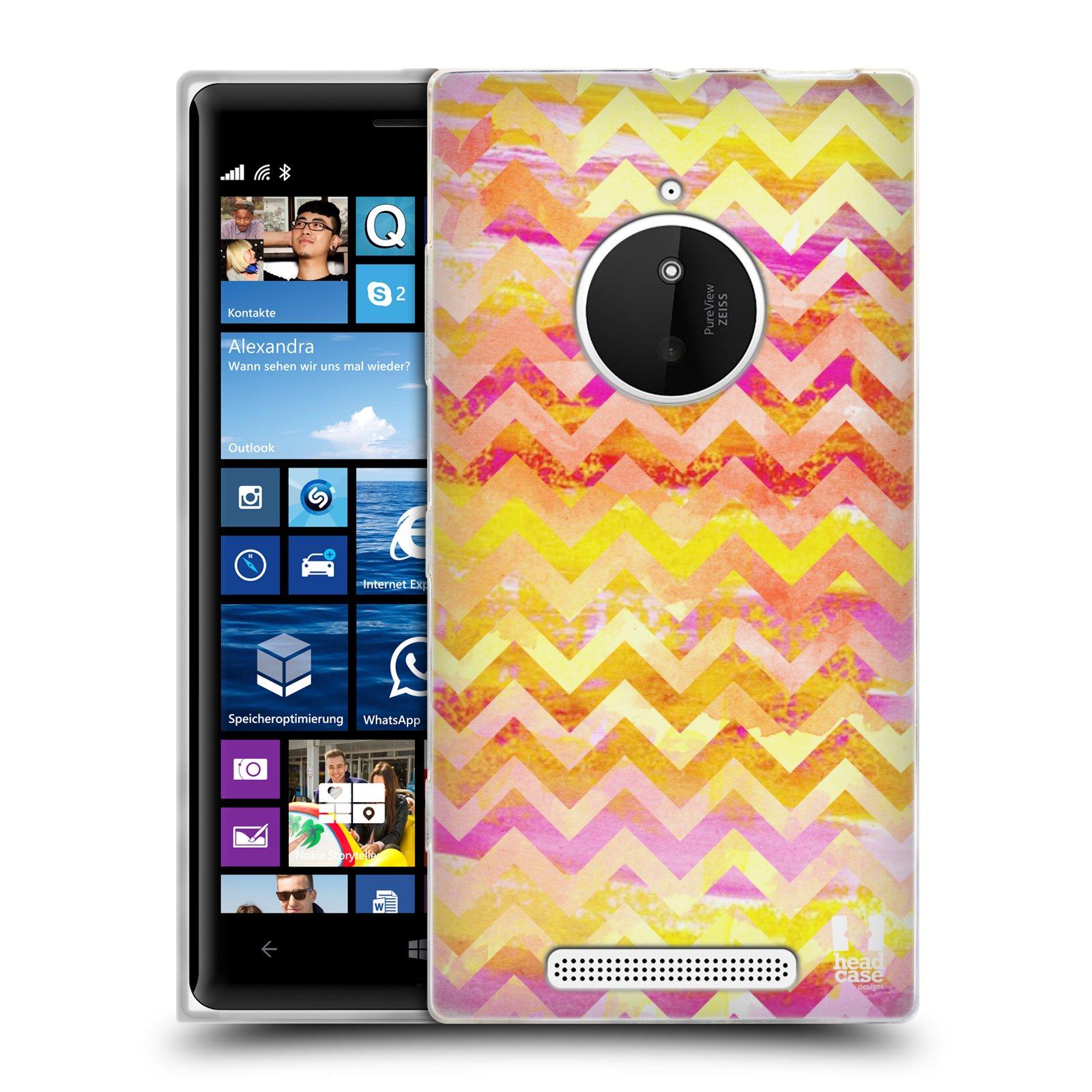 Silikonové pouzdro na mobil Nokia Lumia 830 HEAD CASE Yellow Chevron (Silikonový kryt či obal na mobilní telefon Nokia Lumia 830)