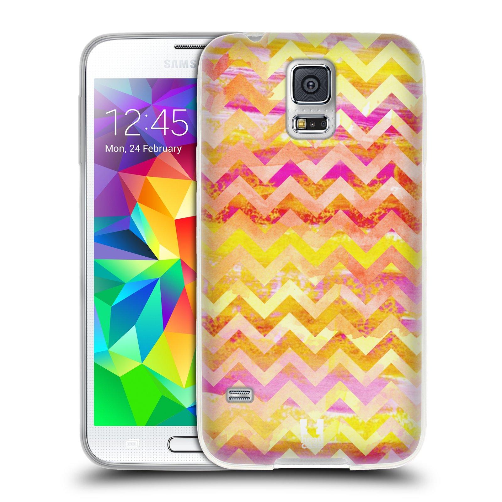 Silikonové pouzdro na mobil Samsung Galaxy S5 HEAD CASE Yellow Chevron (Silikonový kryt či obal na mobilní telefon Samsung Galaxy S5 SM-G900F)