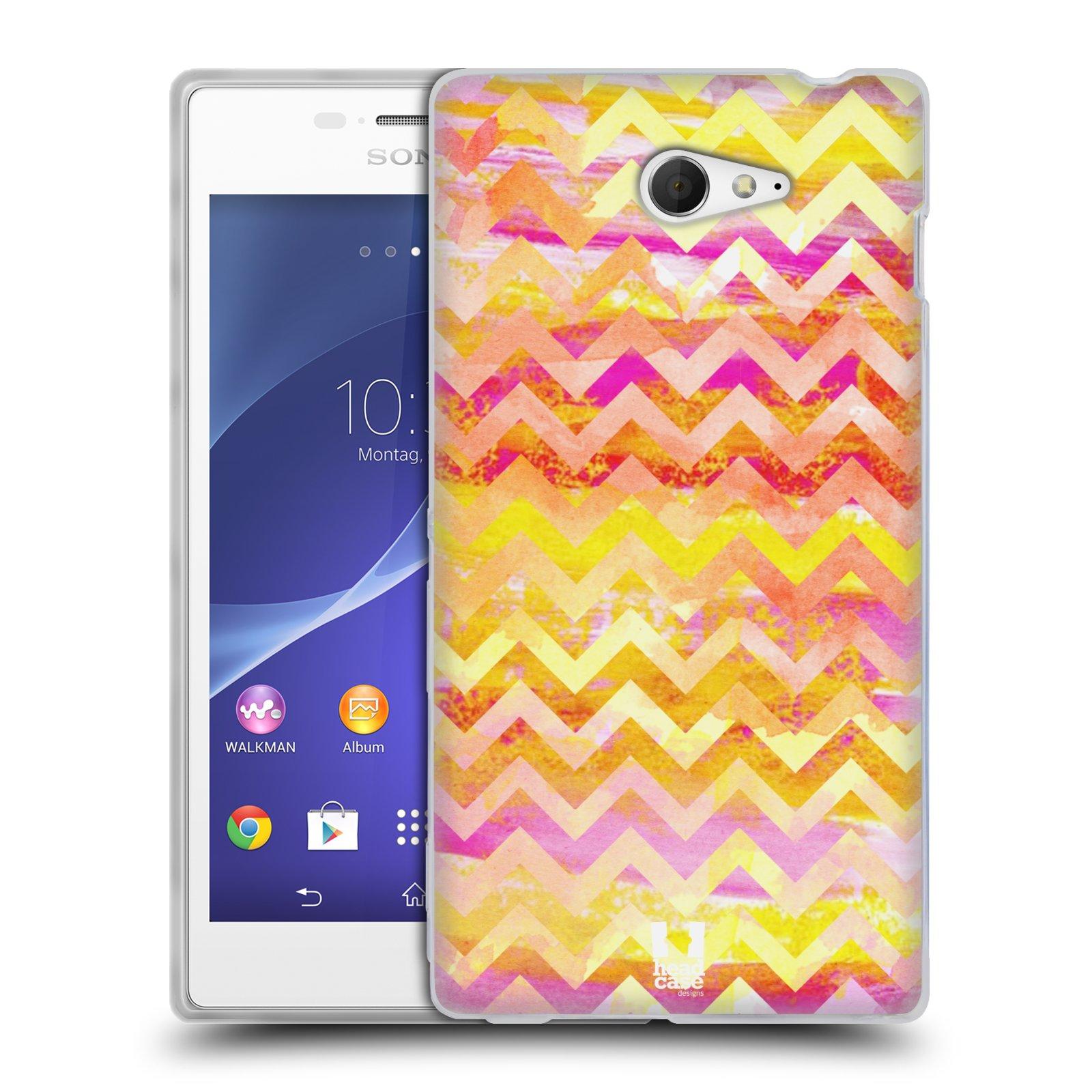 Silikonové pouzdro na mobil Sony Xperia M2 D2303 HEAD CASE Yellow Chevron (Silikonový Kryt či obal na mobilní telefon Sony Xperia M2)