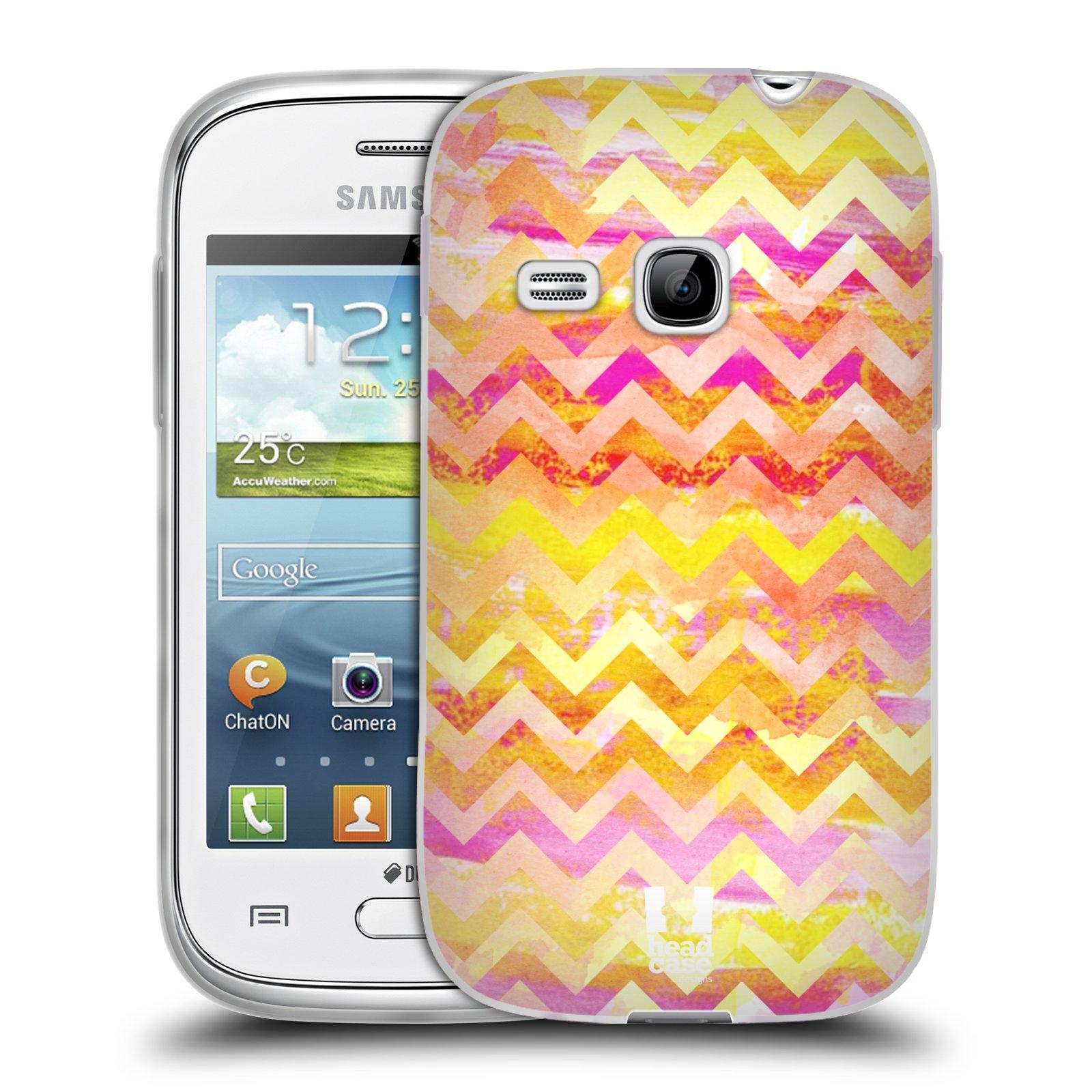 Silikonové pouzdro na mobil Samsung Galaxy Young HEAD CASE Yellow Chevron (Silikonový kryt či obal na mobilní telefon Samsung Galaxy Young GT-S6310)