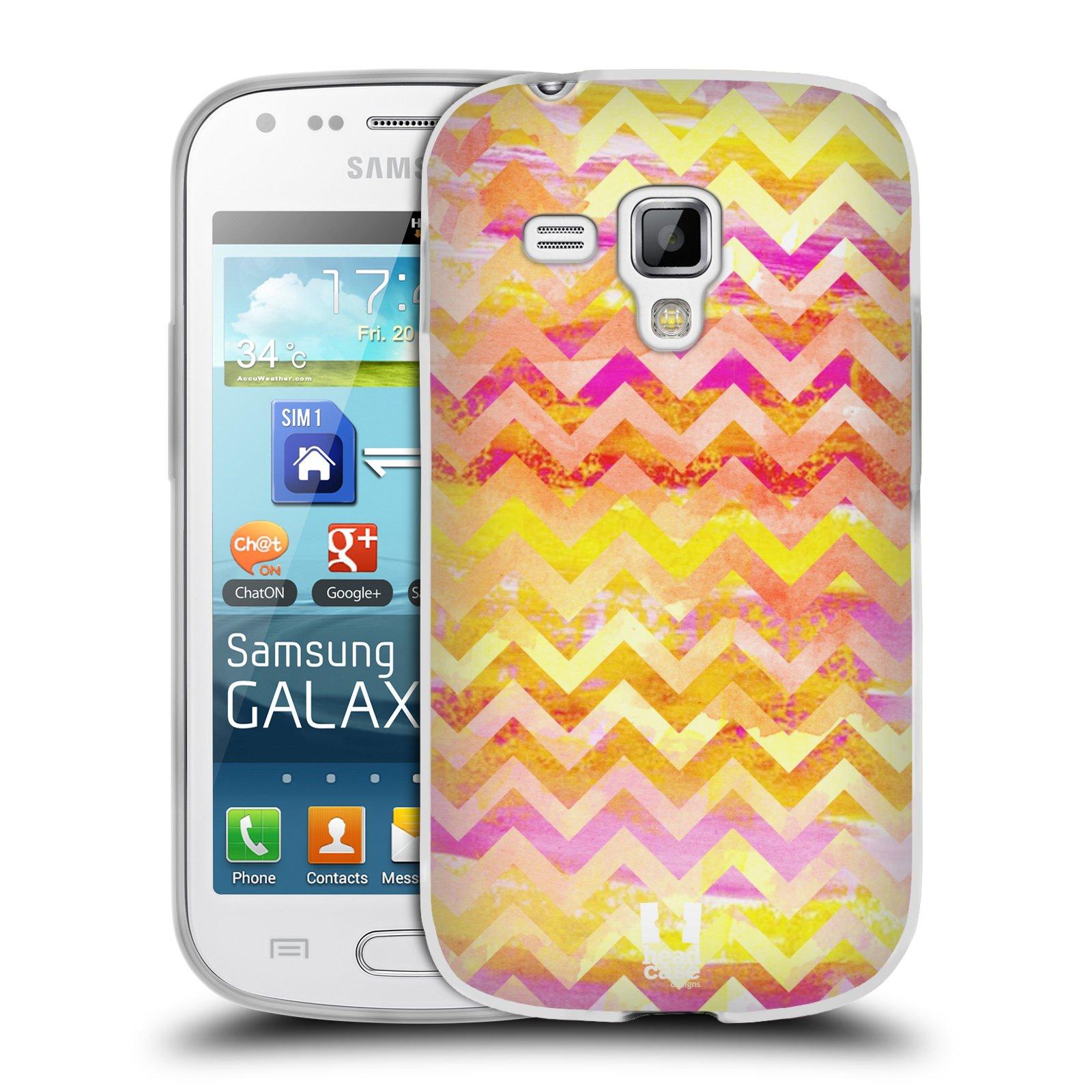 Silikonové pouzdro na mobil Samsung Galaxy Trend Plus HEAD CASE Yellow Chevron (Silikonový kryt či obal na mobilní telefon Samsung Galaxy Trend Plus GT-S7580)