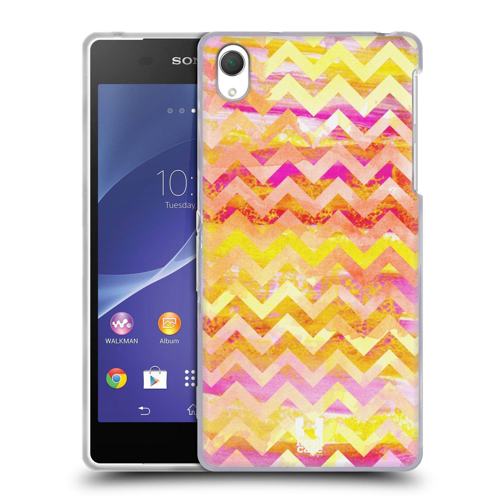Silikonové pouzdro na mobil Sony Xperia Z2 D6503 HEAD CASE Yellow Chevron (Silikonový kryt či obal na mobilní telefon Sony Xperia Z2)