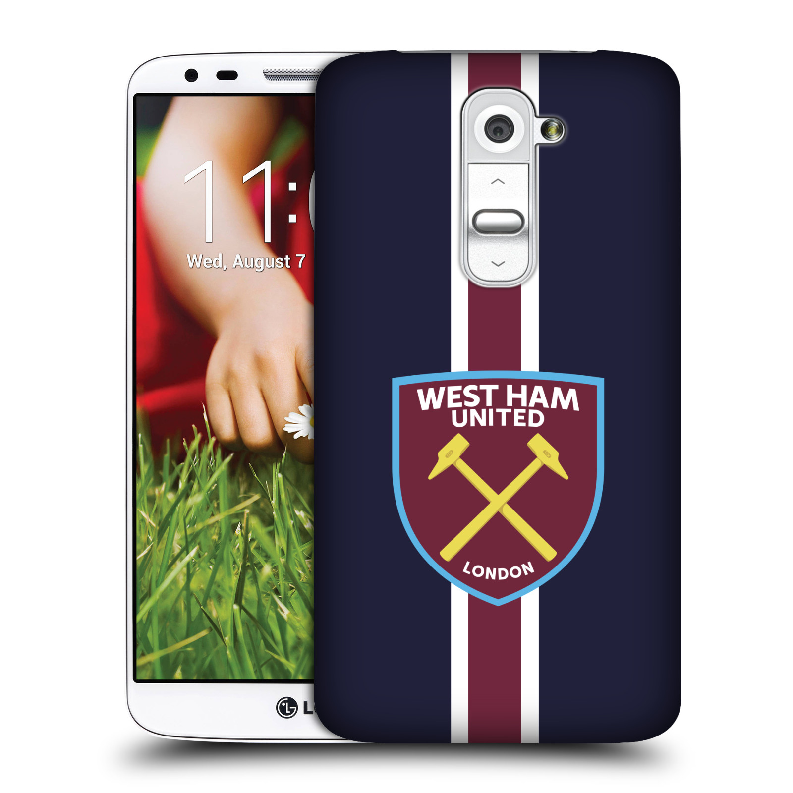 Plastové pouzdro na mobil LG G2 - Head Case - West Ham United - Pruhy