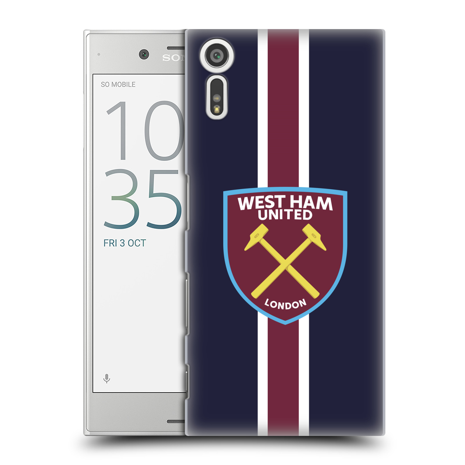 Plastové pouzdro na mobil Sony Xperia XZ - Head Case - West Ham United - Pruhy (Plastový kryt či obal na mobilní telefon s motivem West Ham United - Kladiváři - Pruhy pro Sony Xperia XZ F8331 / Sony Xperia XZ Dual F8332)