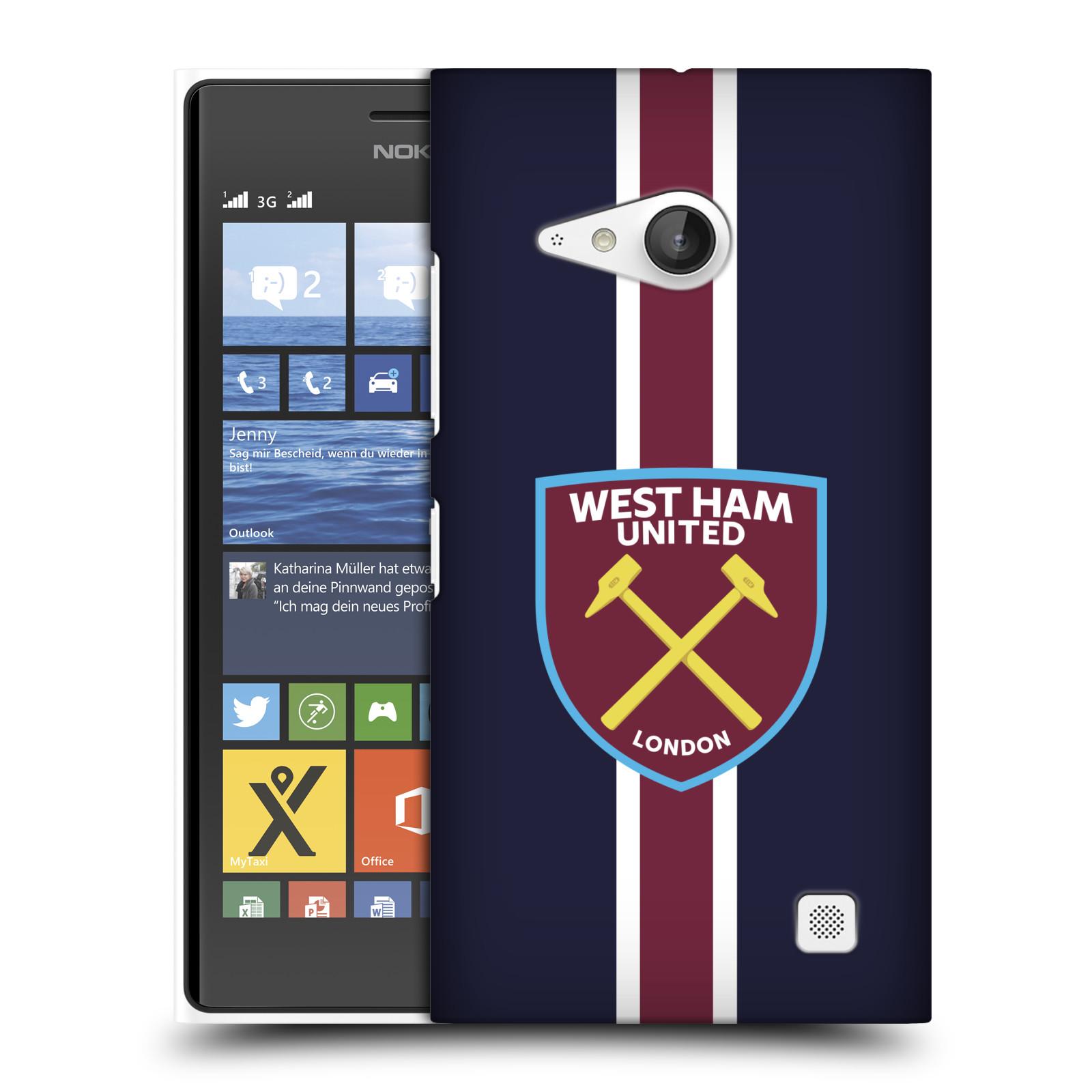 Plastové pouzdro na mobil Nokia Lumia 730 Dual SIM - Head Case - West Ham United - Pruhy (Plastový kryt či obal na mobilní telefon s motivem West Ham United - Kladiváři - Pruhy pro Nokia Lumia 730 Dual SIM)