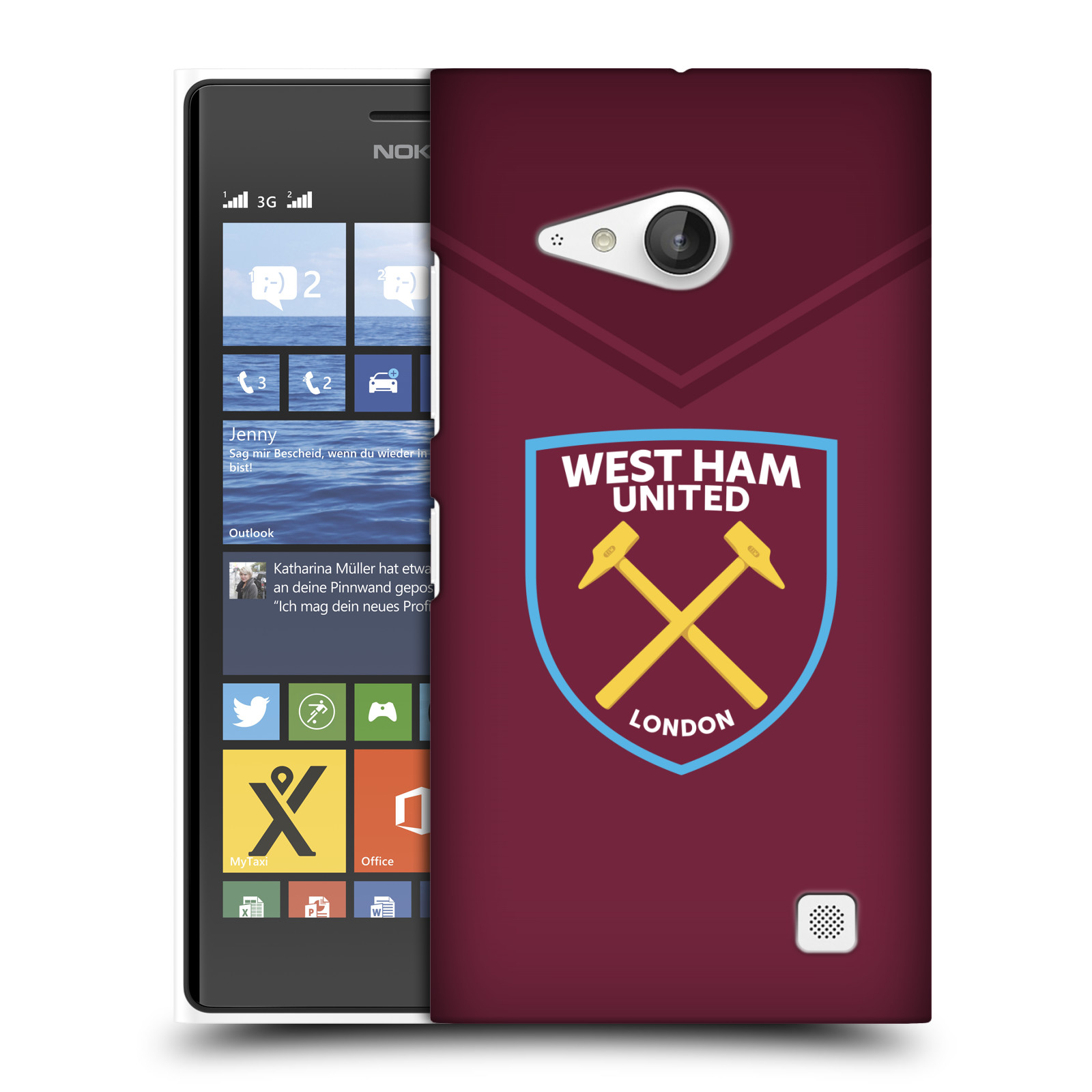 Plastové pouzdro na mobil Nokia Lumia 730 Dual SIM - Head Case - West Ham United - Logo (Plastový kryt či obal na mobilní telefon s motivem West Ham United - Kladiváři - Logo pro Nokia Lumia 730 Dual SIM)